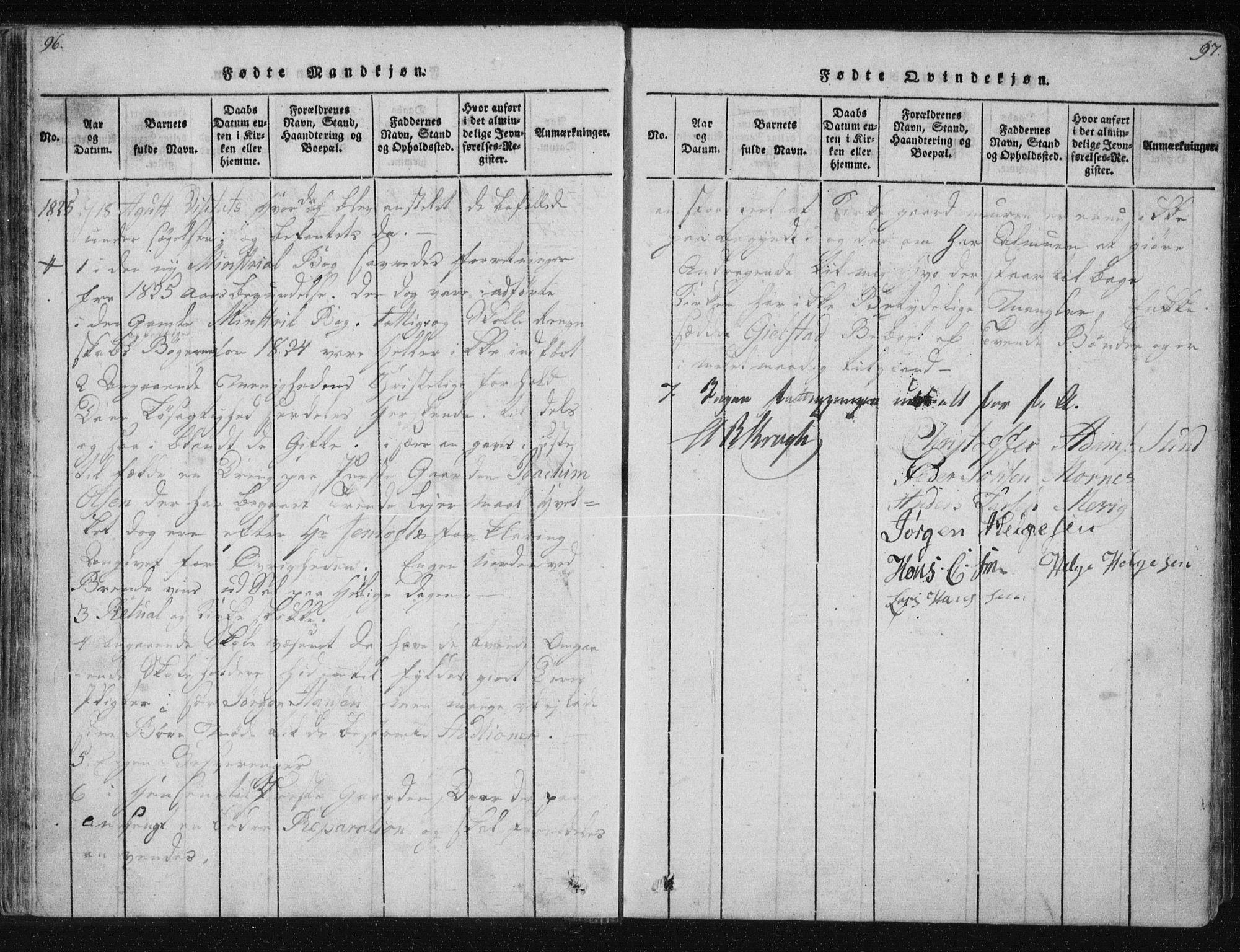 SAT, Ministerialprotokoller, klokkerbøker og fødselsregistre - Nordland, 805/L0096: Ministerialbok nr. 805A03, 1820-1837, s. 96-97