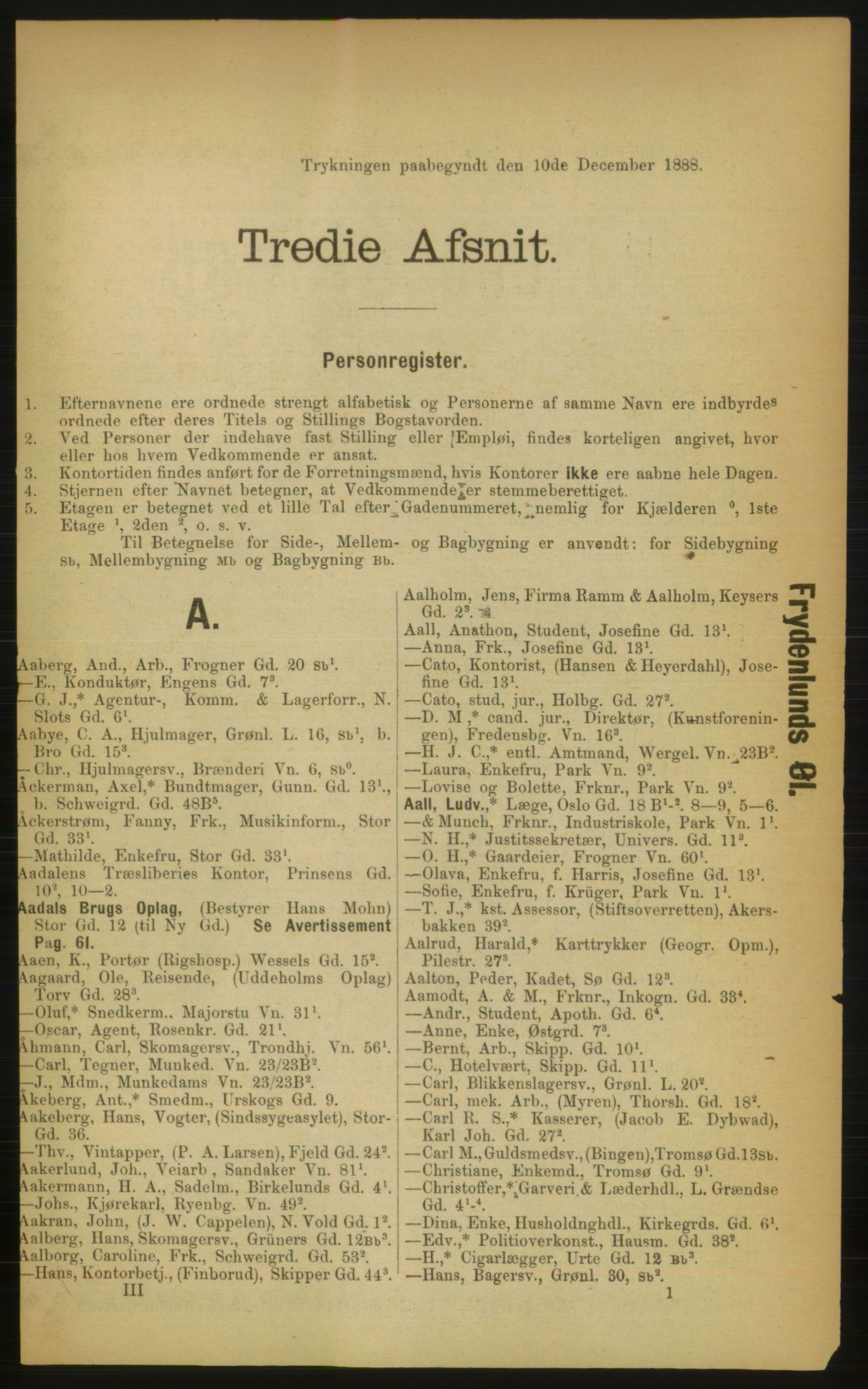RA, Kristiania adressebok (publikasjon)*, 1889, s. 117