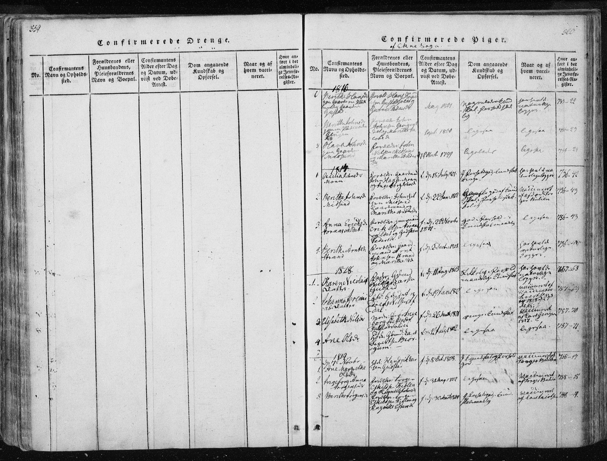 SAT, Ministerialprotokoller, klokkerbøker og fødselsregistre - Nord-Trøndelag, 717/L0148: Ministerialbok nr. 717A04 /3, 1816-1825, s. 559-560