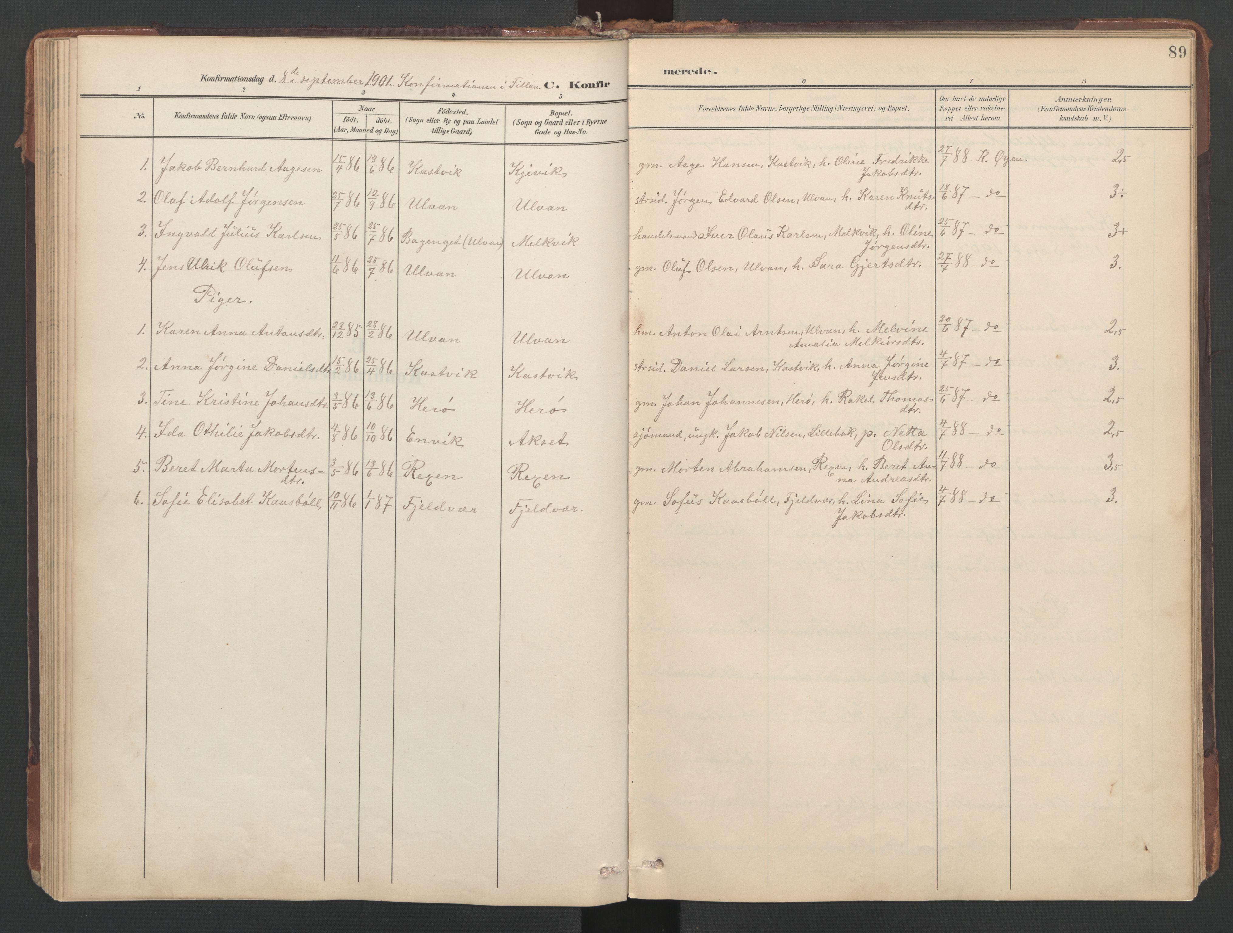 SAT, Ministerialprotokoller, klokkerbøker og fødselsregistre - Sør-Trøndelag, 638/L0568: Ministerialbok nr. 638A01, 1901-1916, s. 89