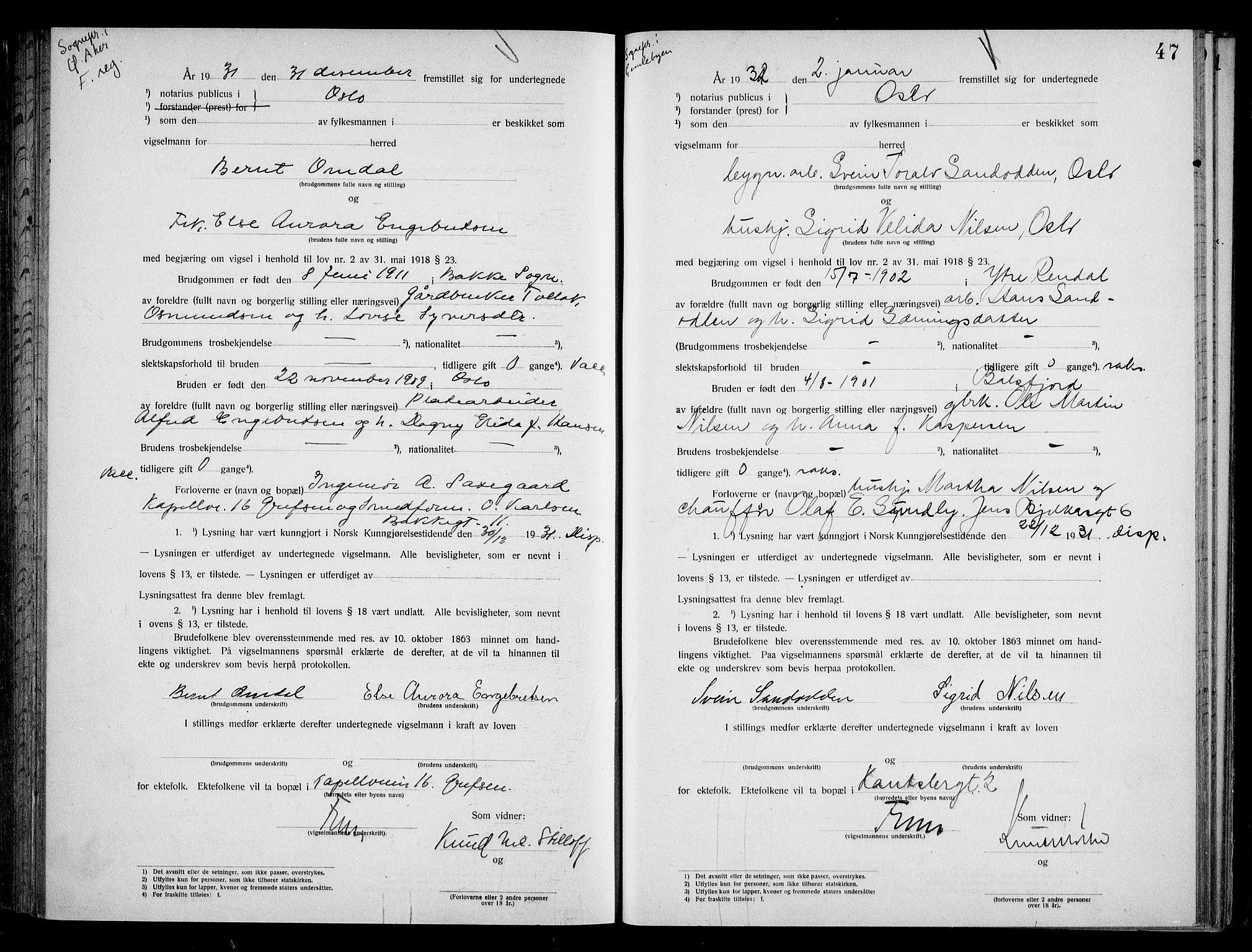 SAO, Oslo byfogd avd. I, L/Lb/Lbb/L0021: Notarialprotokoll, rekke II: Vigsler, 1930-1932, s. 46b-47a