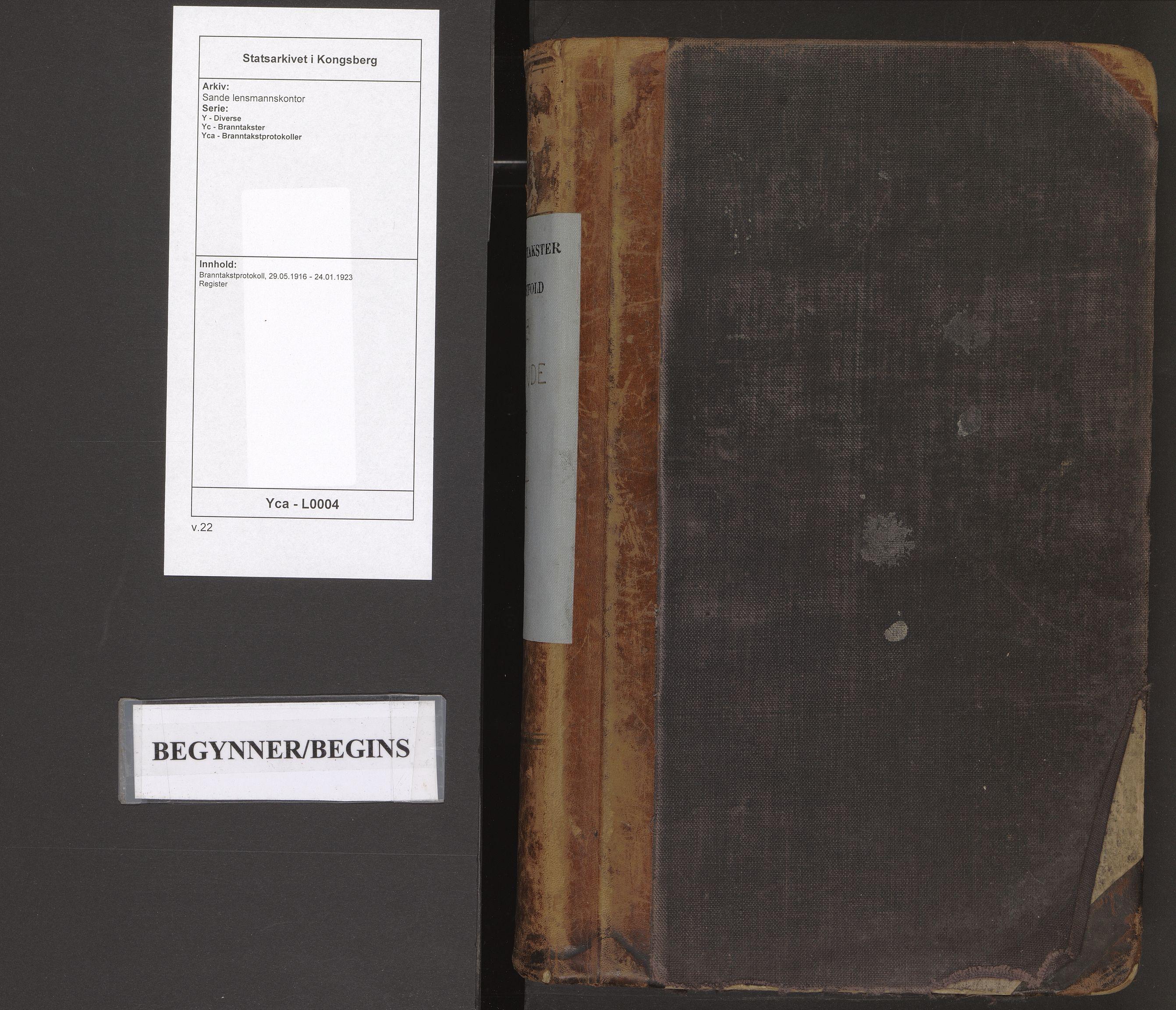 SAKO, Sande lensmannskontor, Y/Yc/Yca/L0004: Branntakstprotokoll, 1916-1923