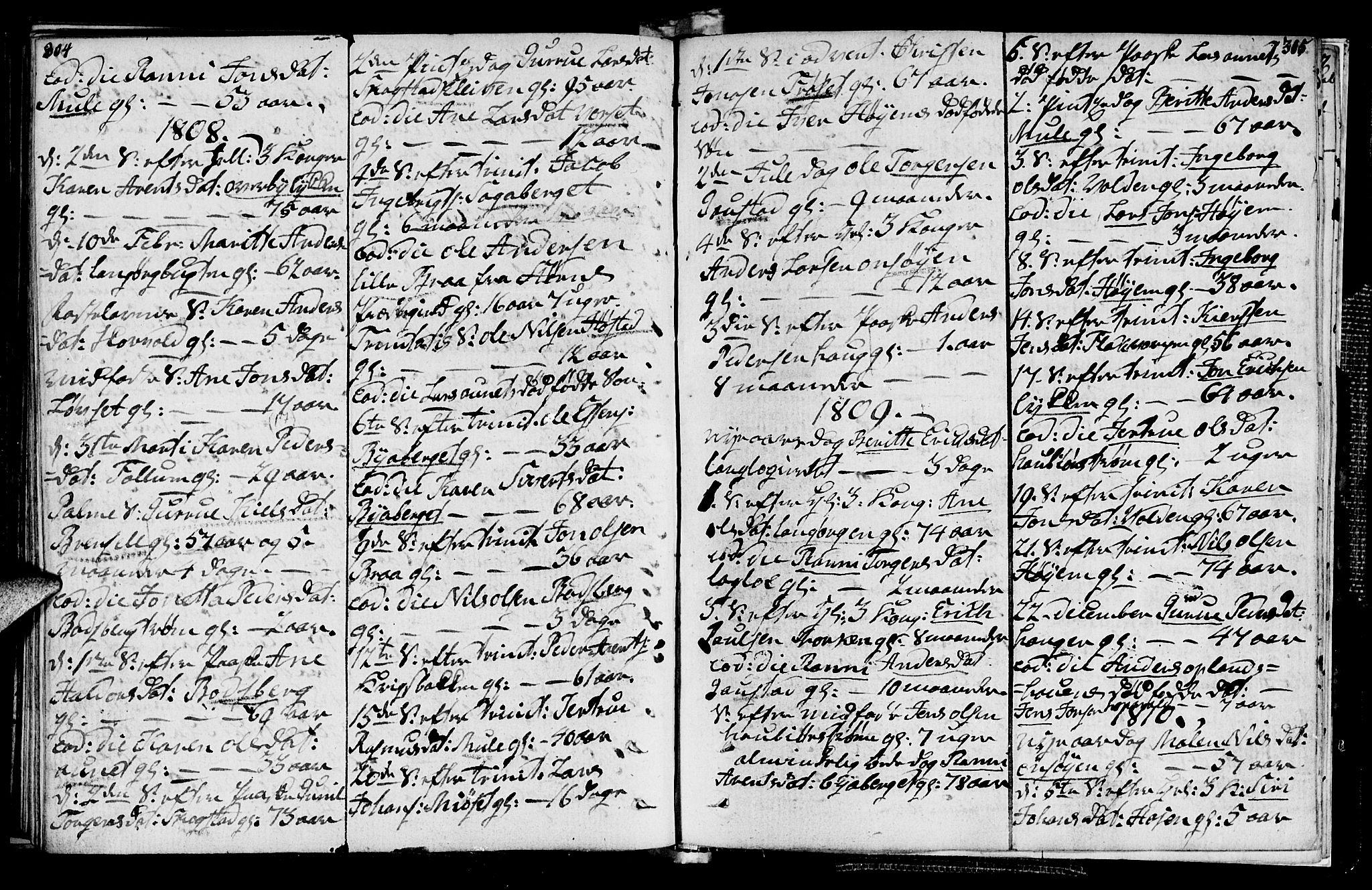 SAT, Ministerialprotokoller, klokkerbøker og fødselsregistre - Sør-Trøndelag, 612/L0371: Ministerialbok nr. 612A05, 1803-1816, s. 304-305