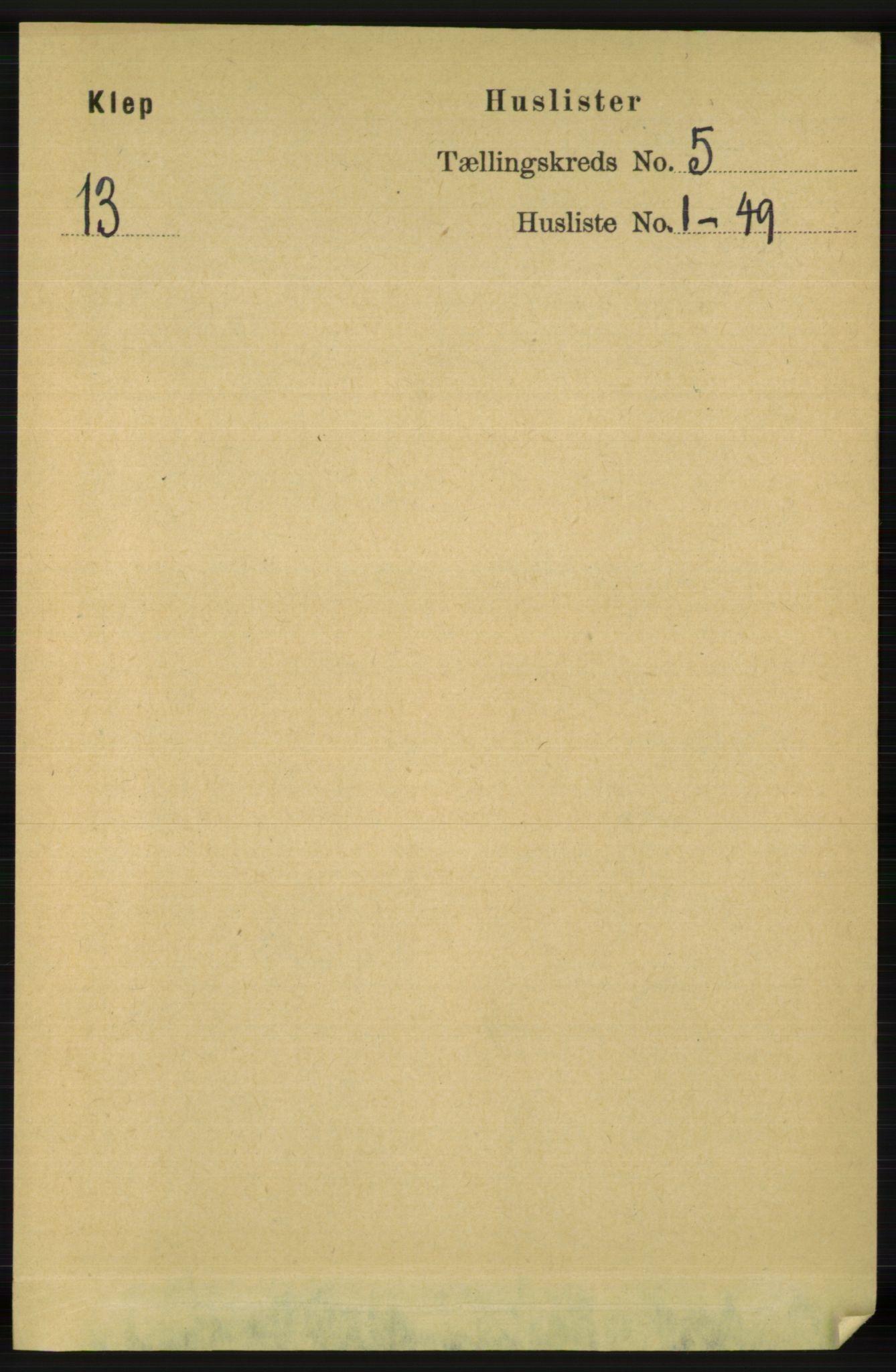 RA, Folketelling 1891 for 1120 Klepp herred, 1891, s. 1288
