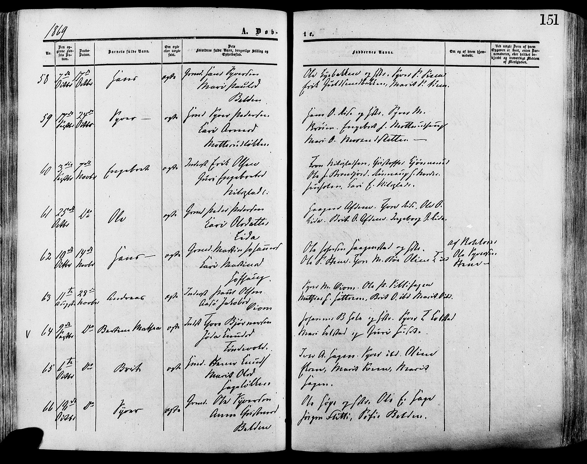 SAH, Lesja prestekontor, Ministerialbok nr. 8, 1854-1880, s. 151