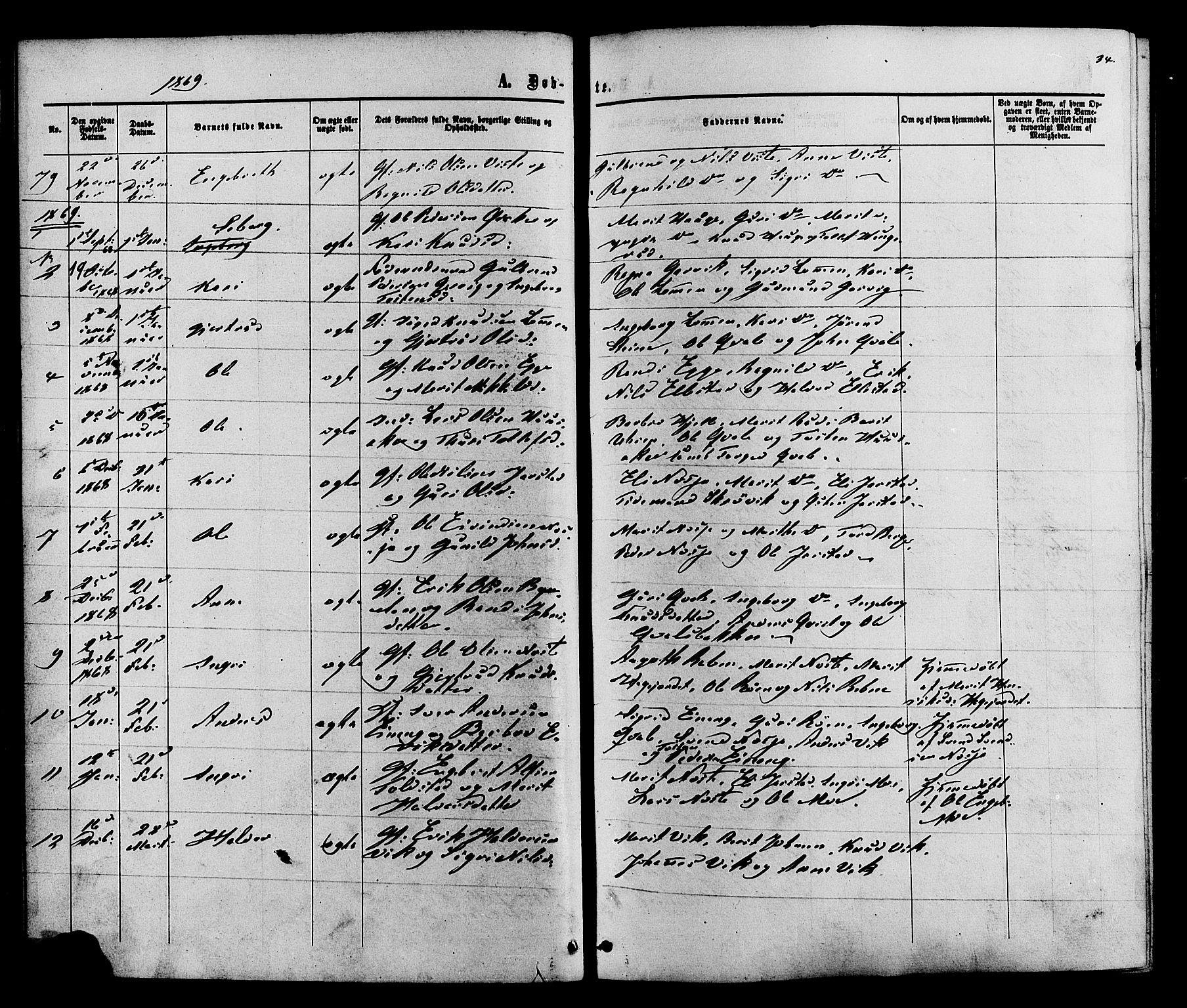 SAH, Vestre Slidre prestekontor, Ministerialbok nr. 3, 1865-1880, s. 34