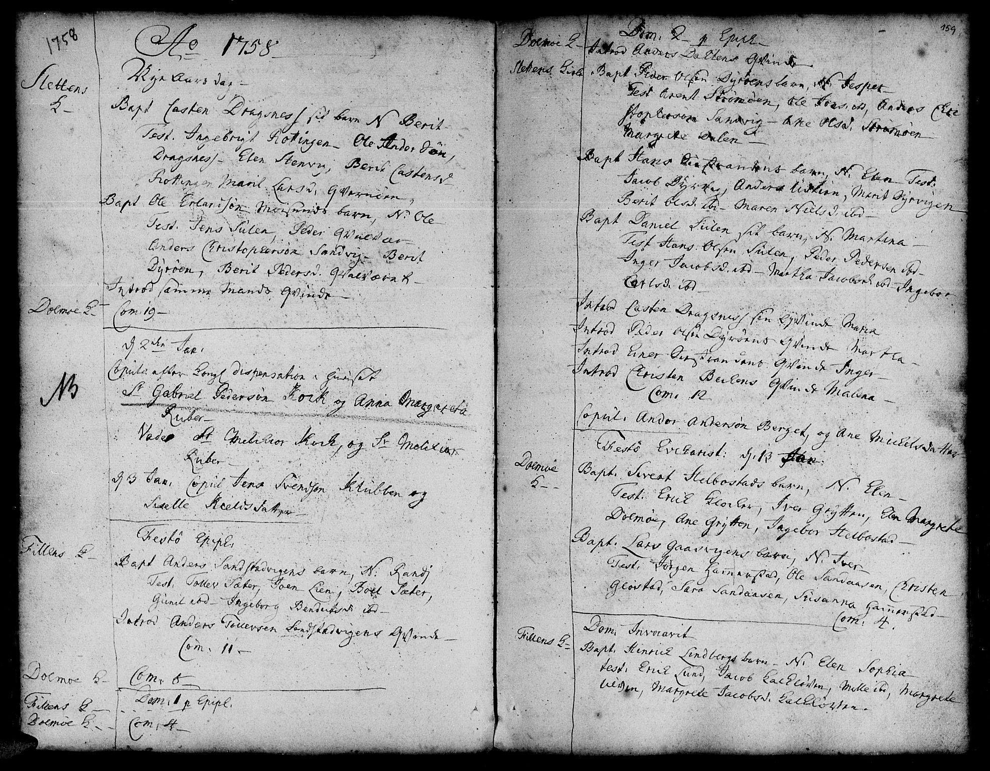 SAT, Ministerialprotokoller, klokkerbøker og fødselsregistre - Sør-Trøndelag, 634/L0525: Ministerialbok nr. 634A01, 1736-1775, s. 159