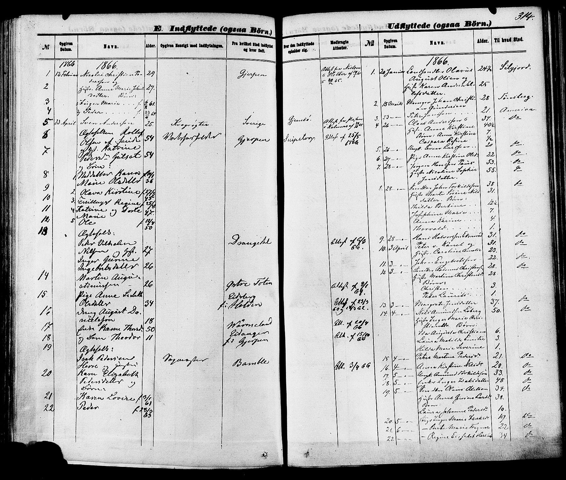SAKO, Skien kirkebøker, F/Fa/L0008: Ministerialbok nr. 8, 1866-1877, s. 314
