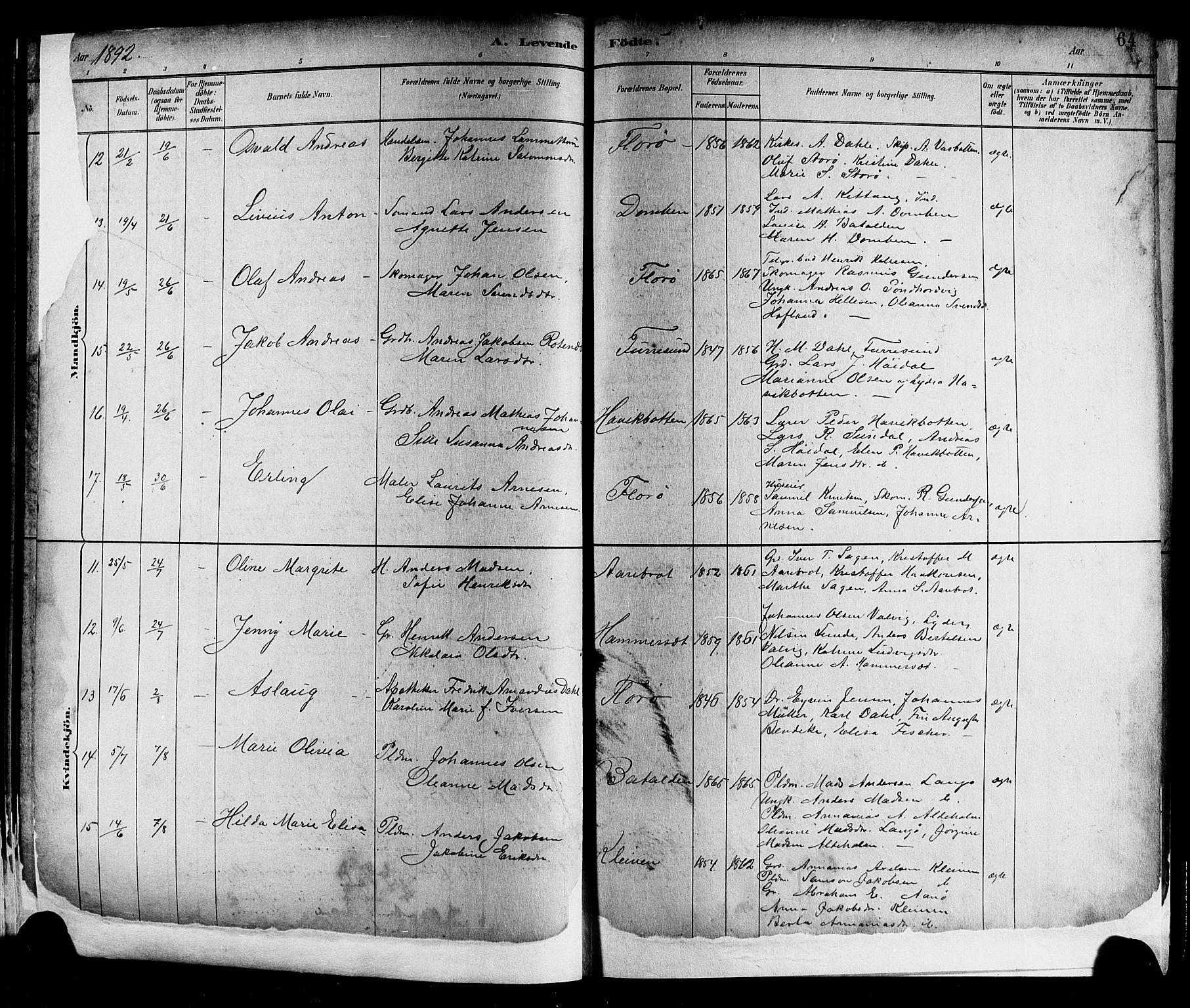 SAB, Kinn Sokneprestembete, Klokkerbok nr. A 2, 1882-1906, s. 64