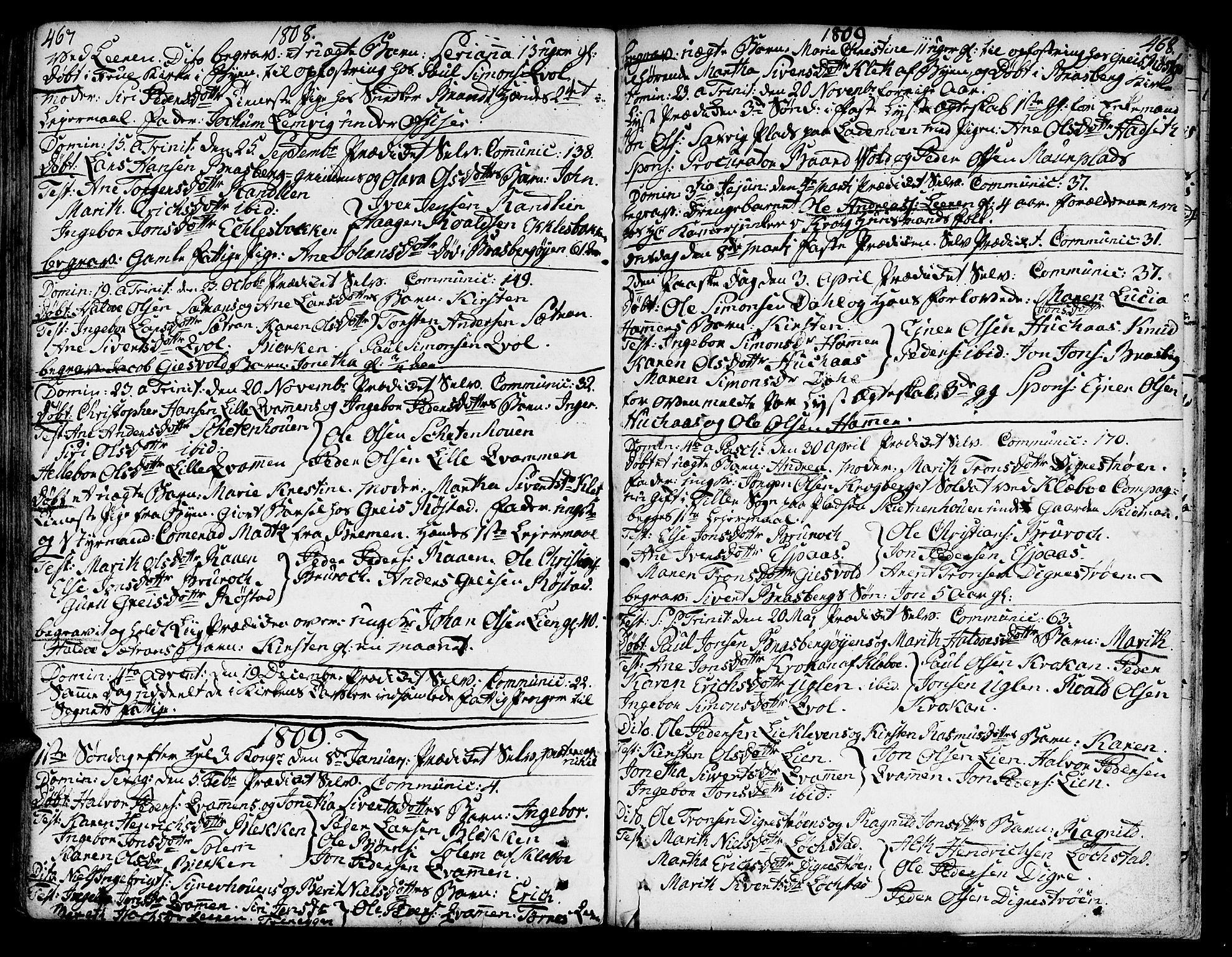 SAT, Ministerialprotokoller, klokkerbøker og fødselsregistre - Sør-Trøndelag, 606/L0282: Ministerialbok nr. 606A02 /3, 1781-1817, s. 467-468