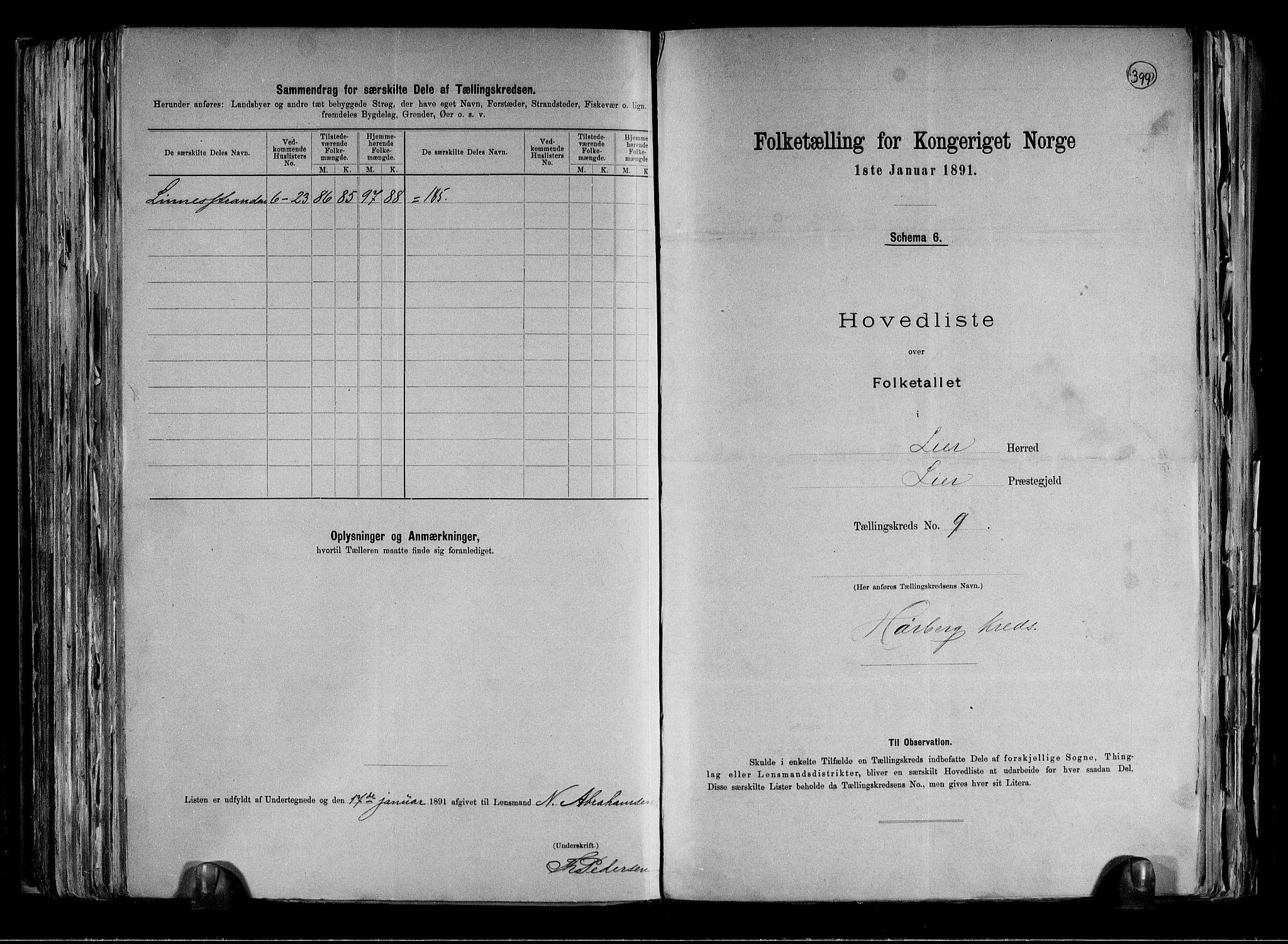 RA, Folketelling 1891 for 0626 Lier herred, 1891, s. 25