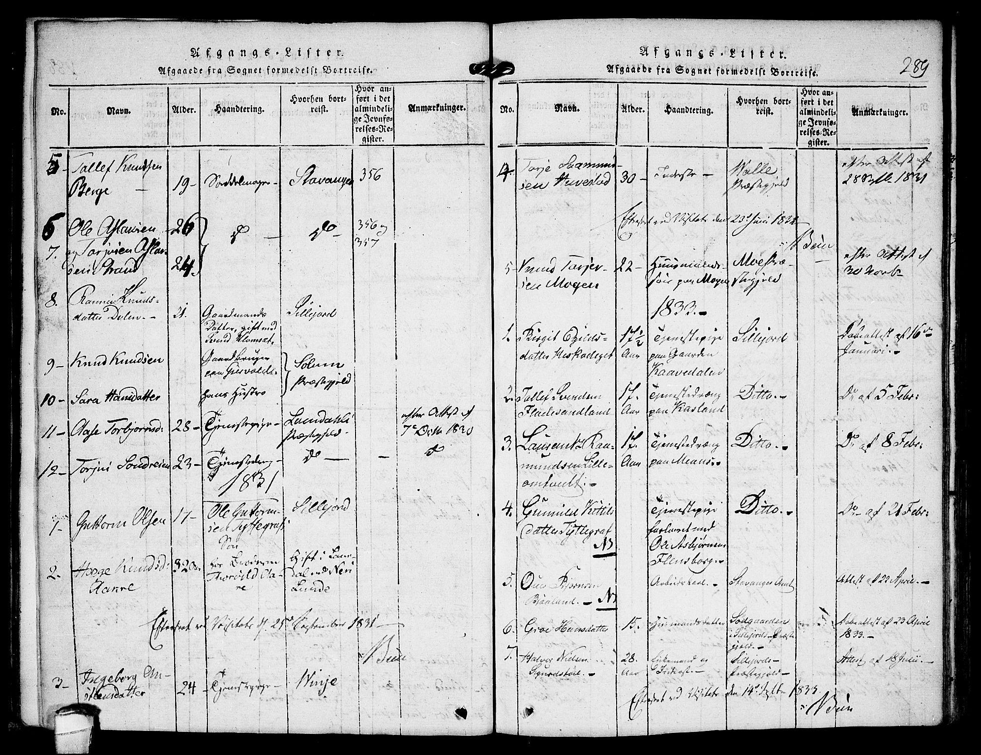 SAKO, Kviteseid kirkebøker, F/Fb/L0001: Ministerialbok nr. II 1, 1815-1836, s. 289
