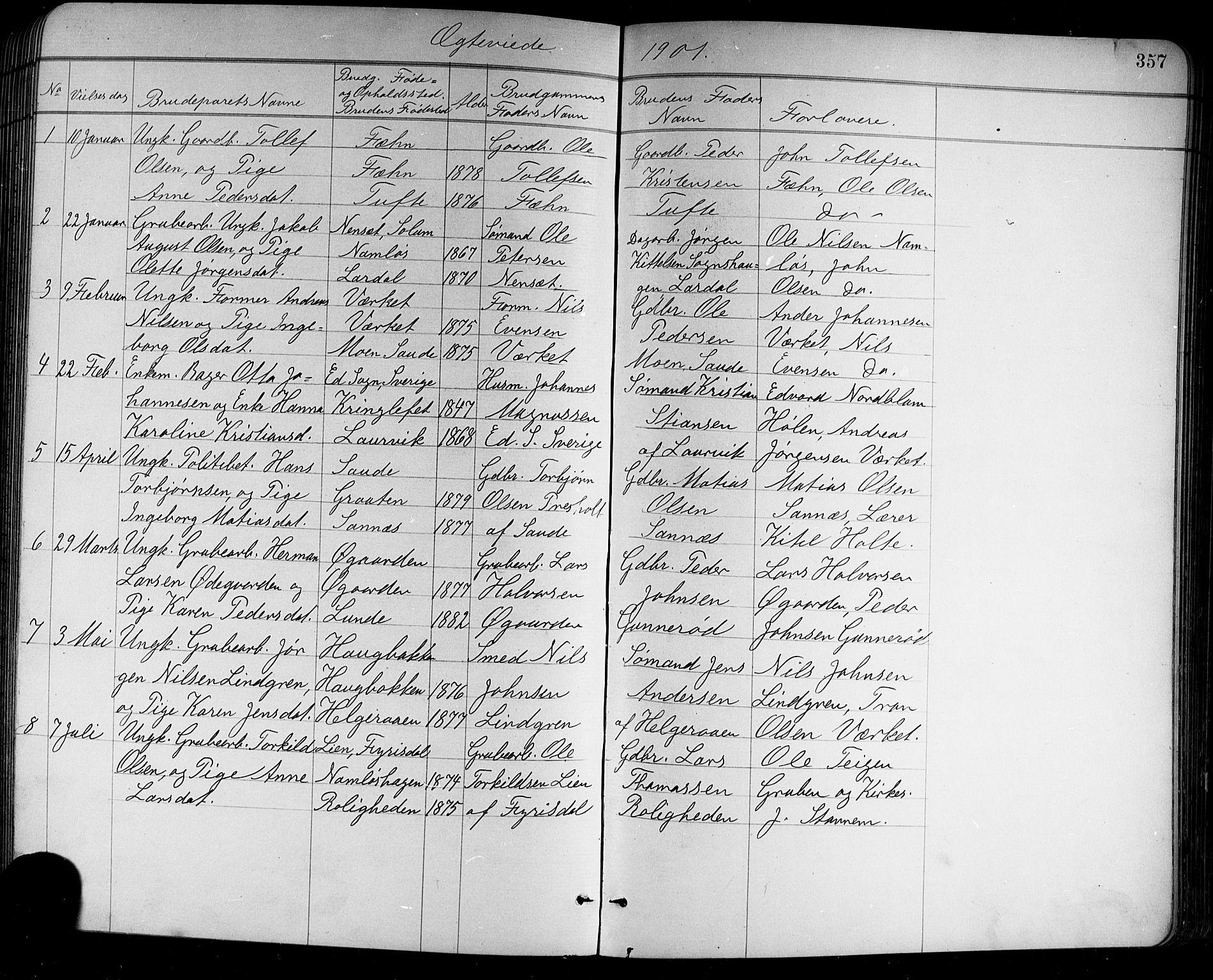 SAKO, Holla kirkebøker, G/Ga/L0005: Klokkerbok nr. I 5, 1891-1917, s. 357
