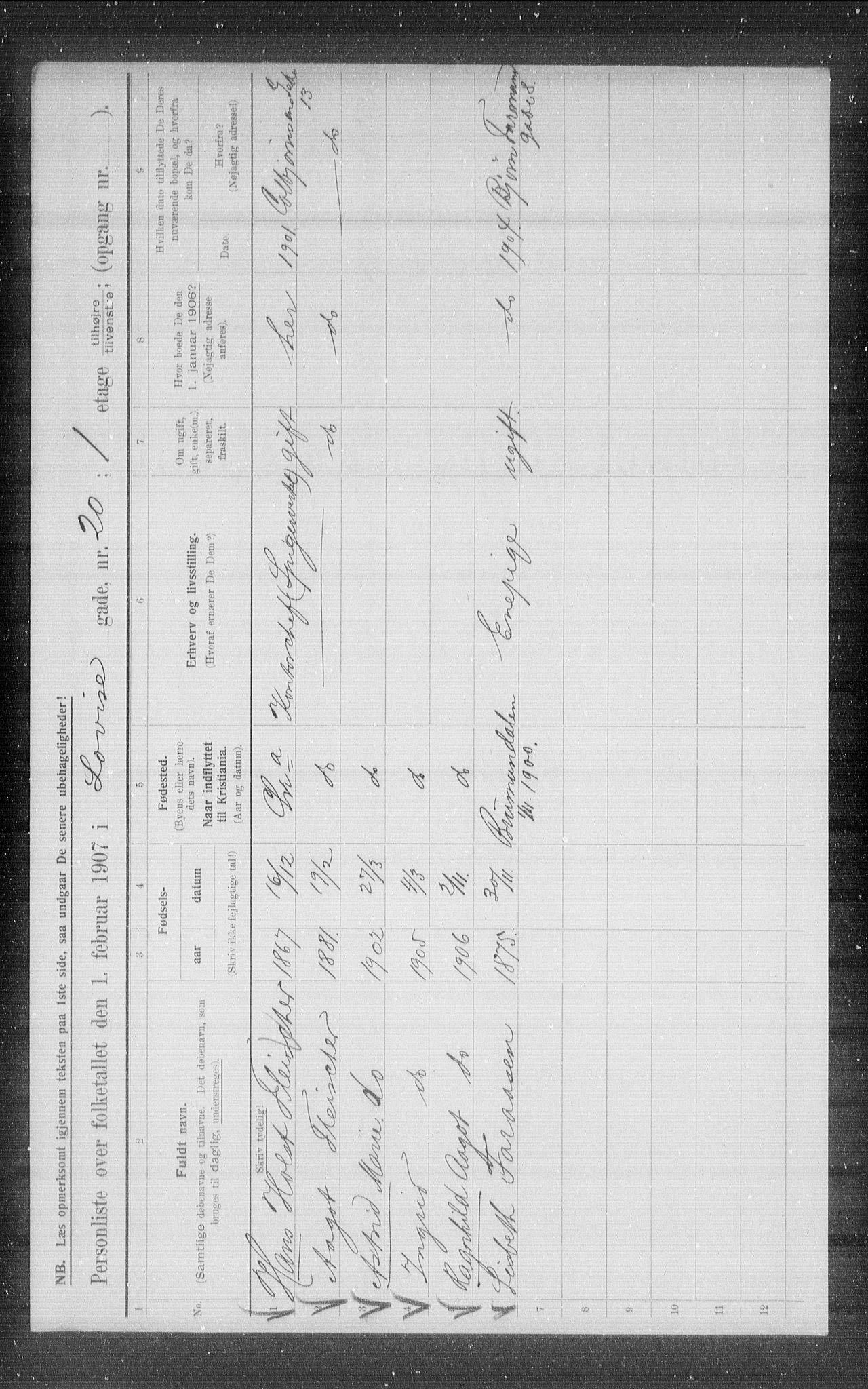 OBA, Kommunal folketelling 1907 for Kristiania kjøpstad, 1907, s. 29849