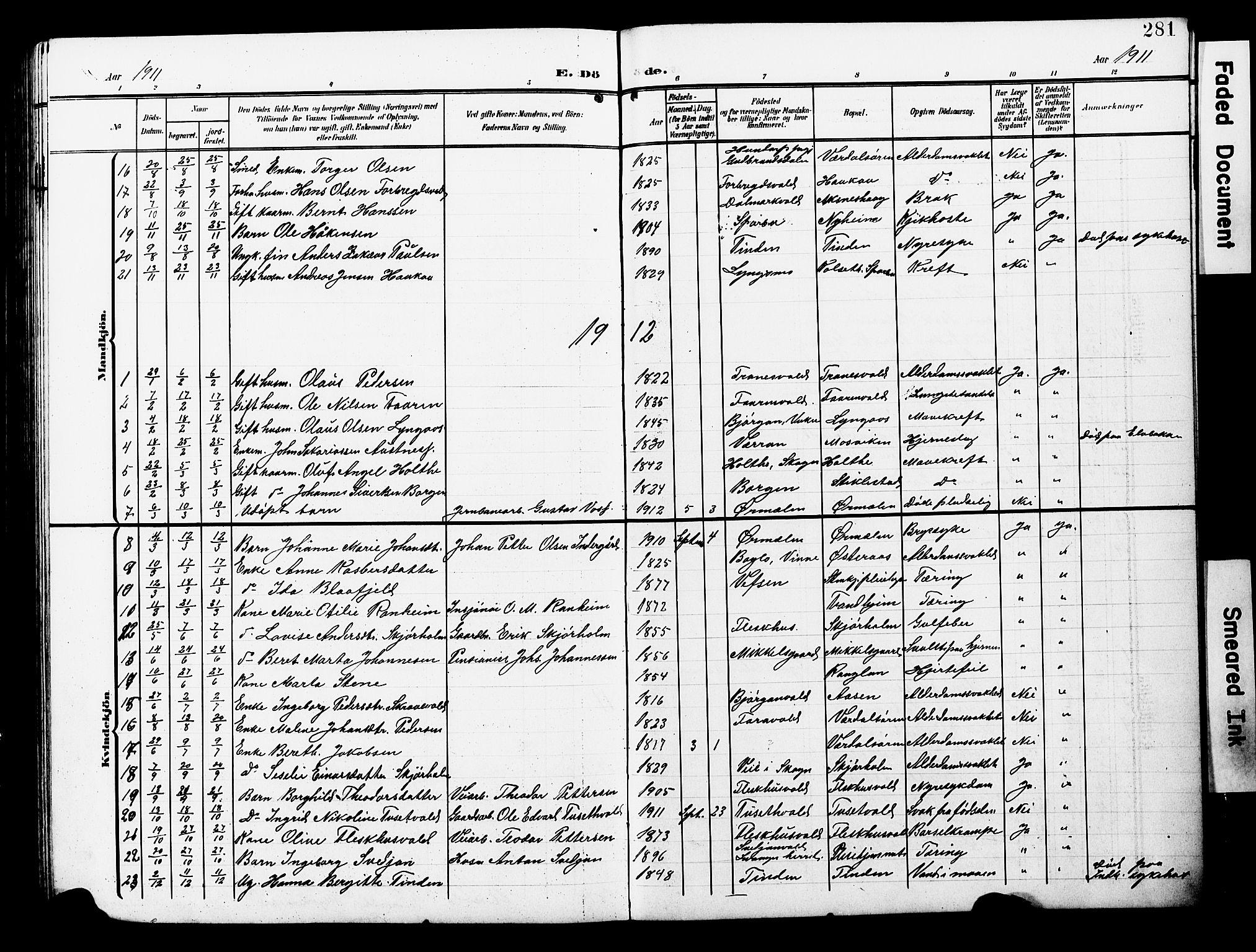 SAT, Ministerialprotokoller, klokkerbøker og fødselsregistre - Nord-Trøndelag, 723/L0258: Klokkerbok nr. 723C06, 1908-1927, s. 281