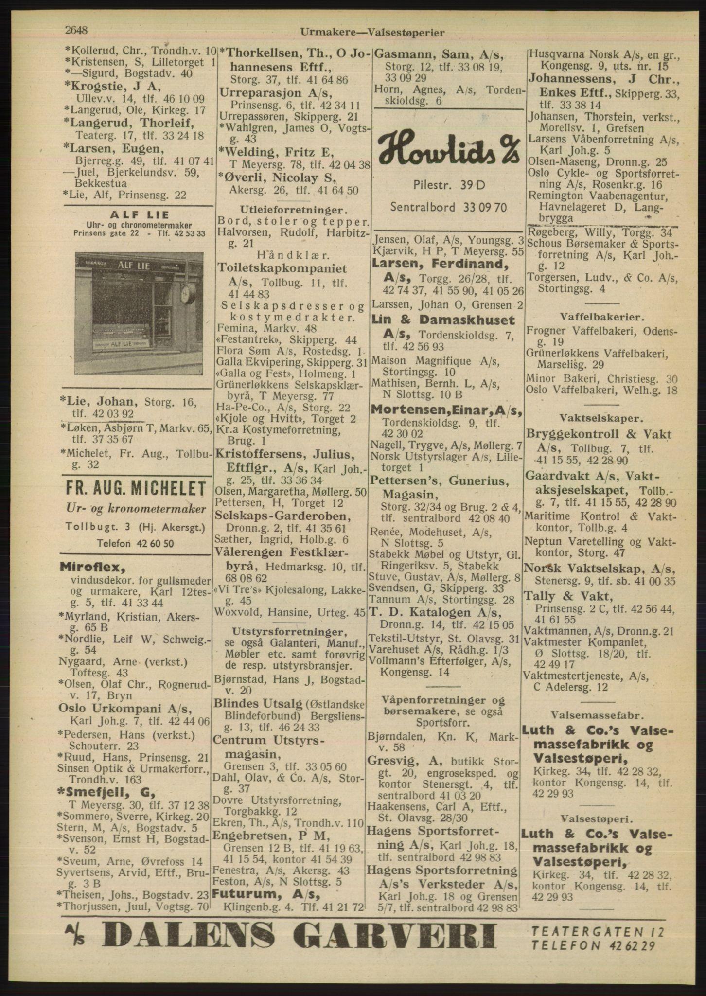 RA, Oslo adressebok (publikasjon)*, 1948, s. 2648