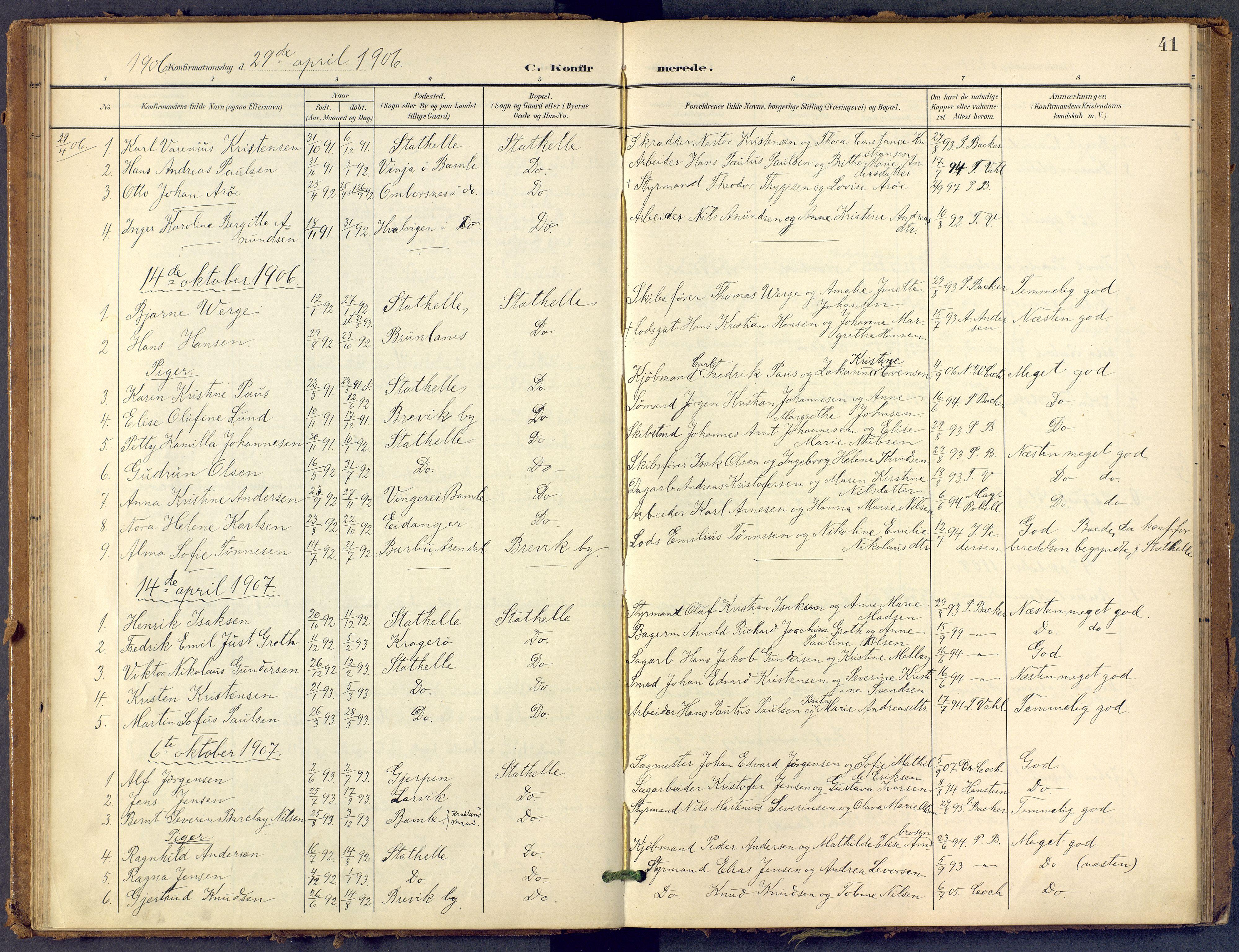 SAKO, Bamble kirkebøker, F/Fb/L0002: Ministerialbok nr. II 2, 1900-1921, s. 41