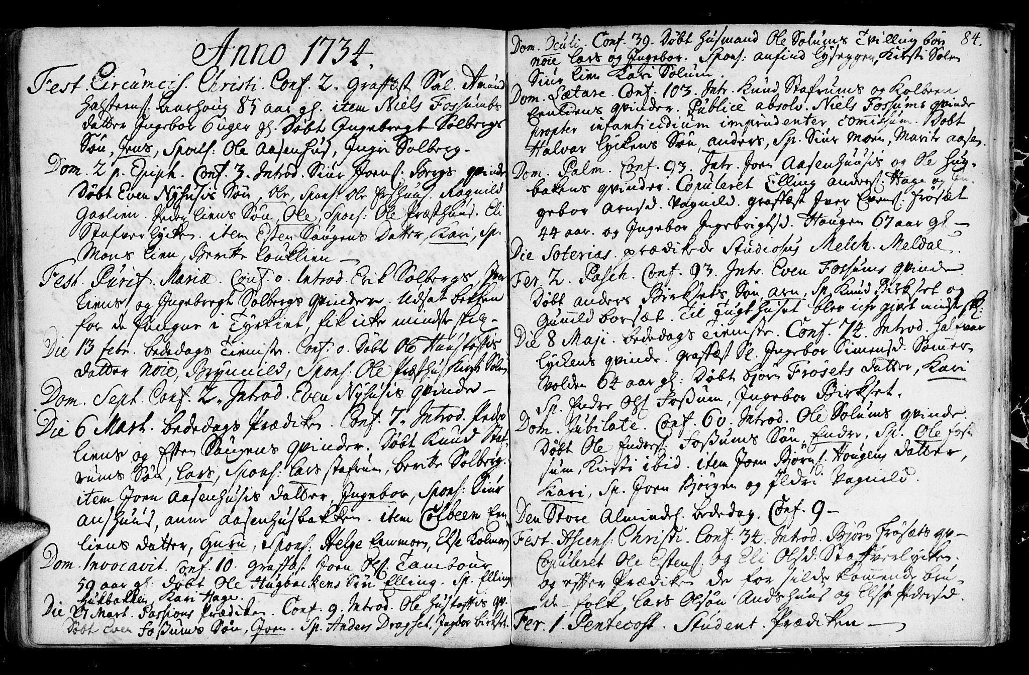 SAT, Ministerialprotokoller, klokkerbøker og fødselsregistre - Sør-Trøndelag, 689/L1036: Ministerialbok nr. 689A01, 1696-1746, s. 84