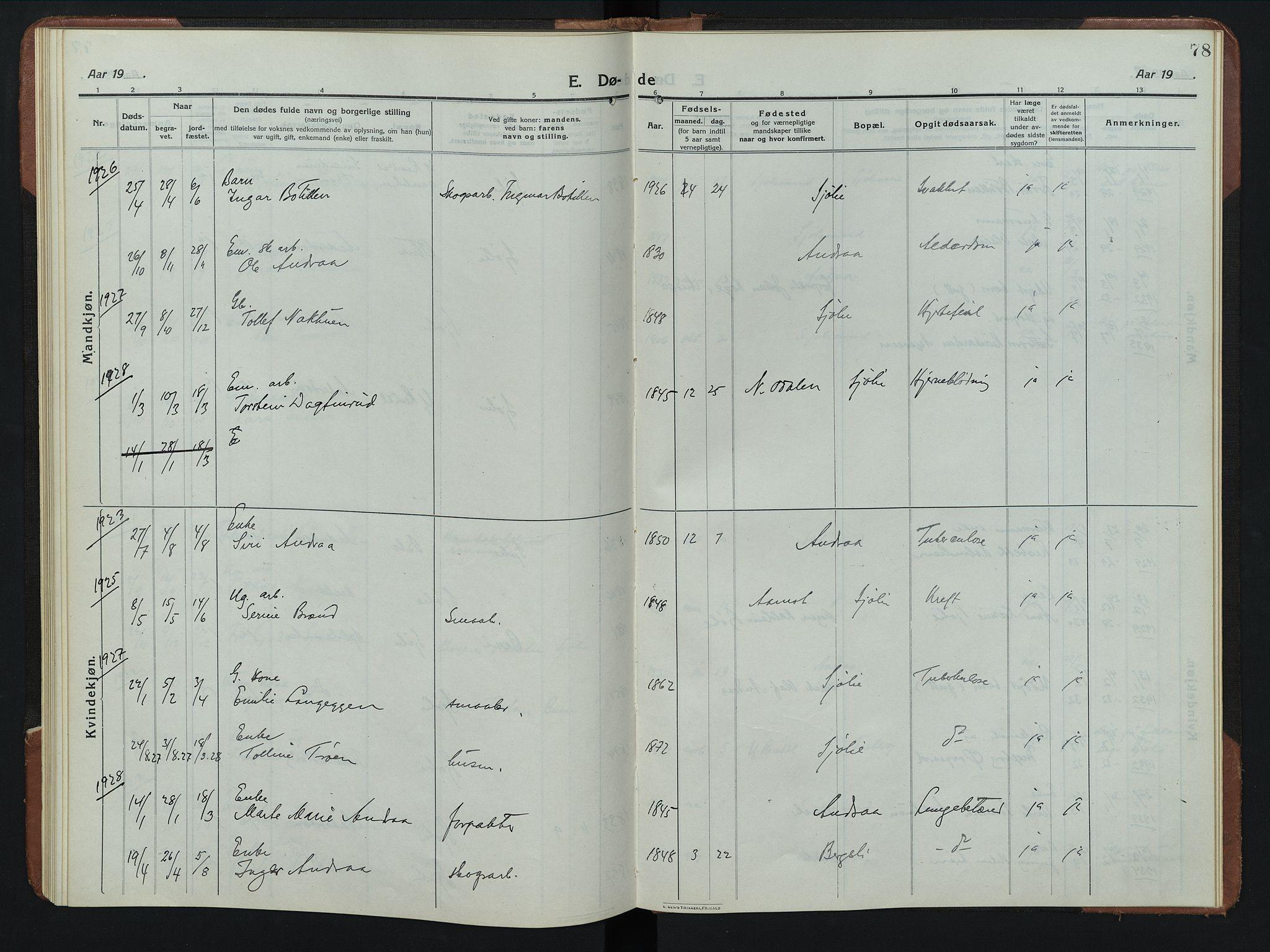 SAH, Rendalen prestekontor, H/Ha/Hab/L0008: Klokkerbok nr. 8, 1914-1948, s. 78
