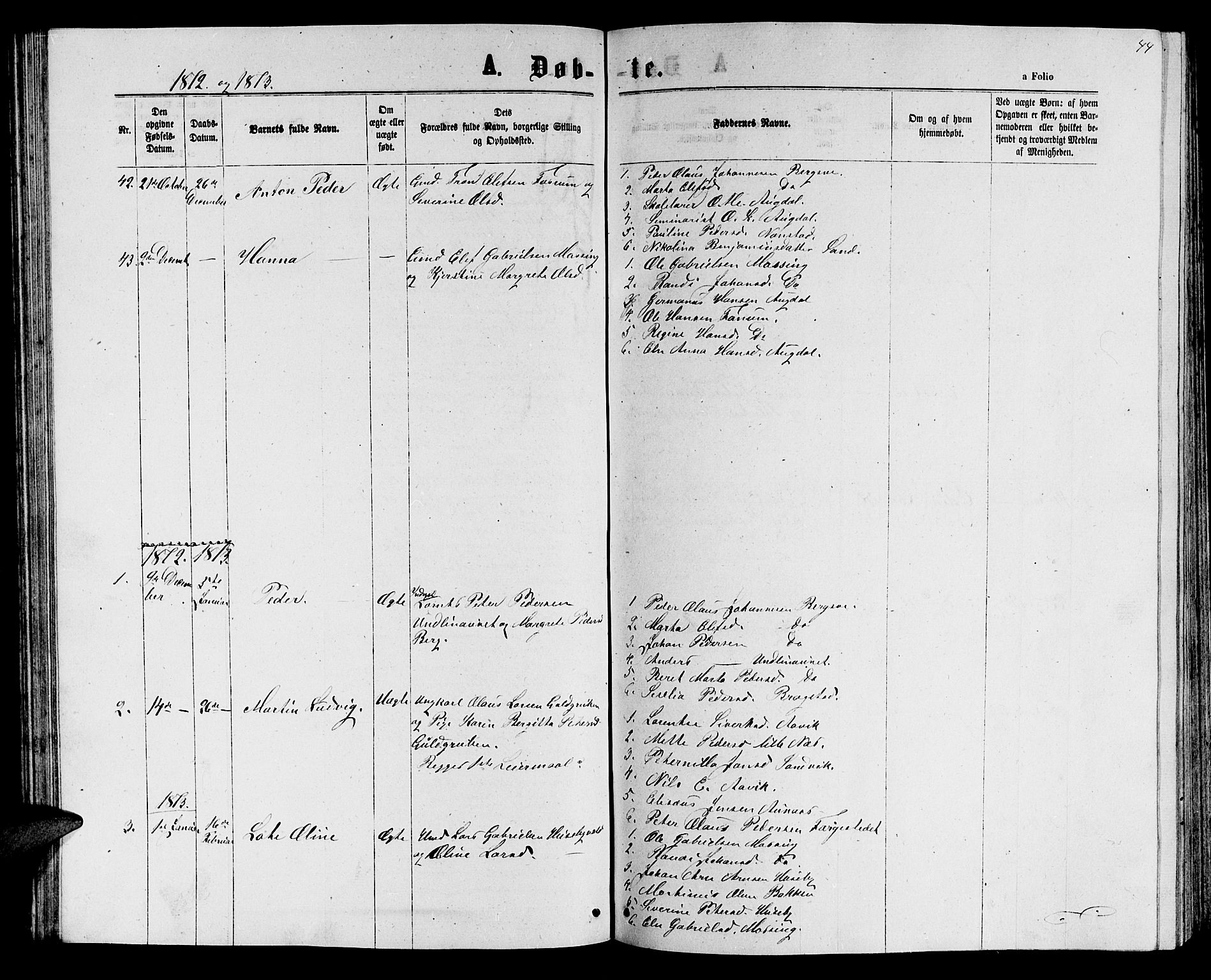 SAT, Ministerialprotokoller, klokkerbøker og fødselsregistre - Nord-Trøndelag, 714/L0133: Klokkerbok nr. 714C02, 1865-1877, s. 44