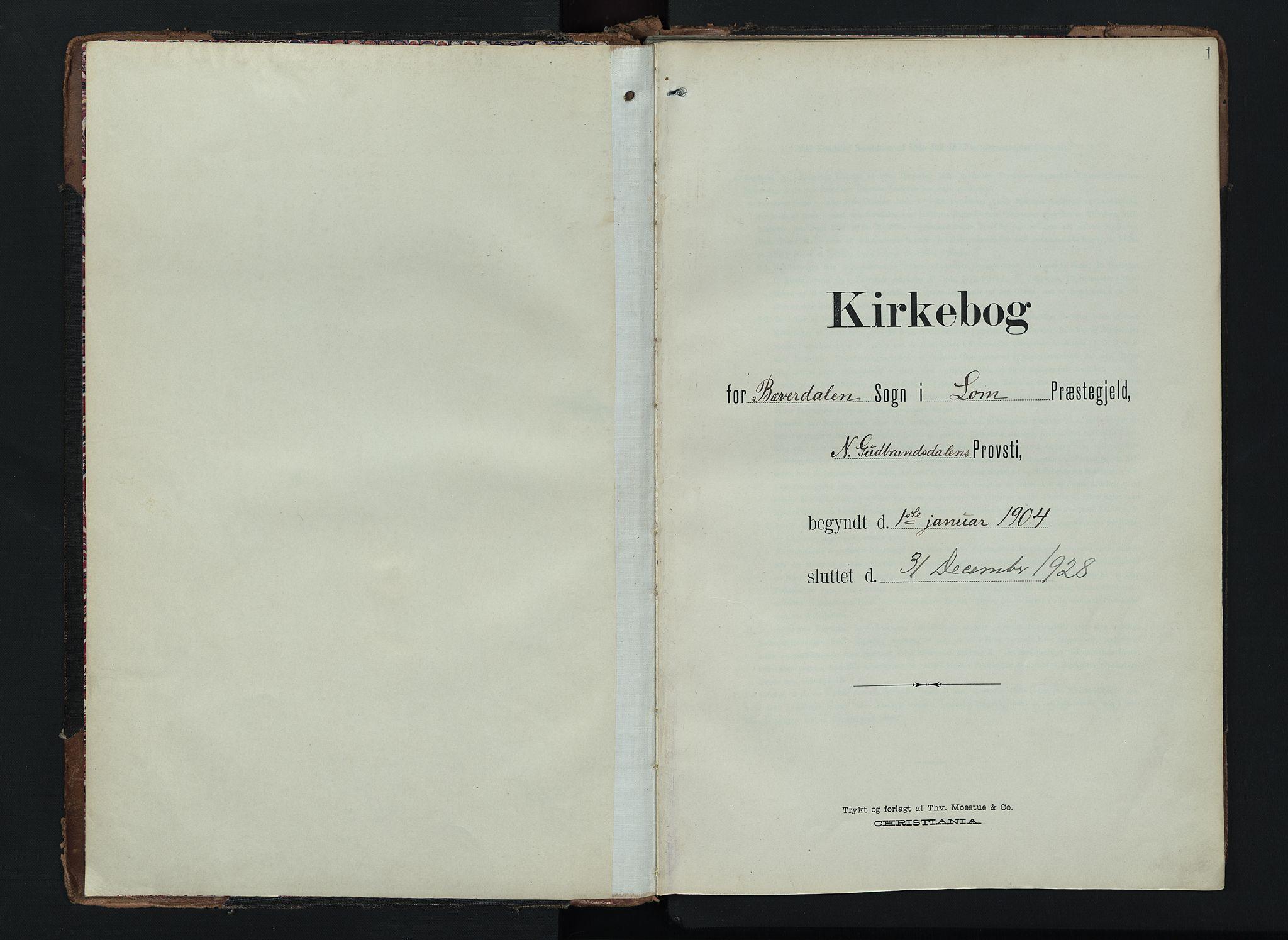 SAH, Lom prestekontor, K/L0012: Ministerialbok nr. 12, 1904-1928, s. 1