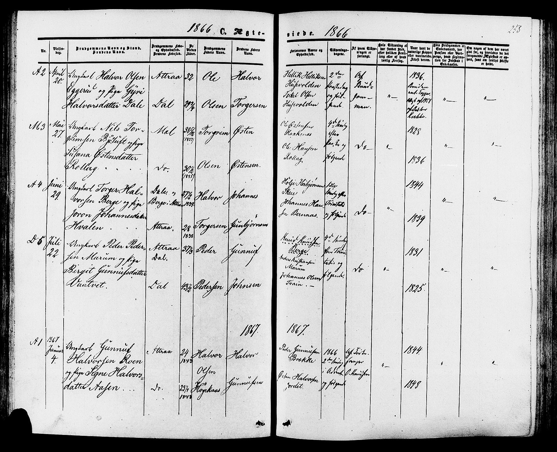 SAKO, Tinn kirkebøker, F/Fa/L0006: Ministerialbok nr. I 6, 1857-1878, s. 258