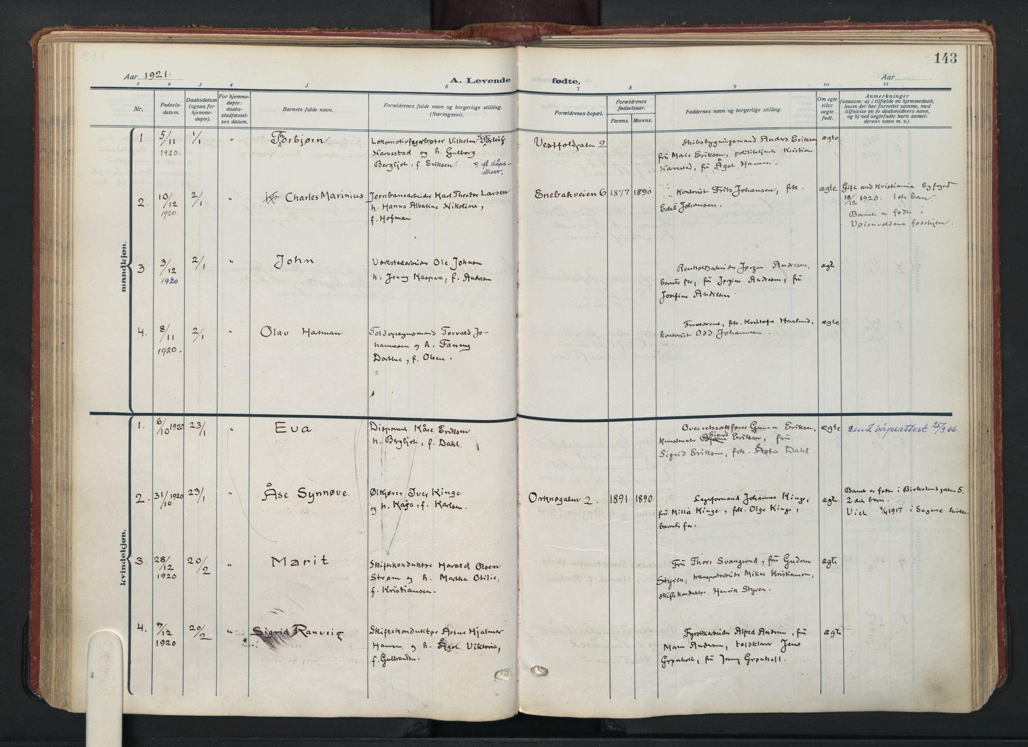 SAO, Vålerengen prestekontor Kirkebøker, F/Fa/L0004: Ministerialbok nr. 4, 1915-1929, s. 143