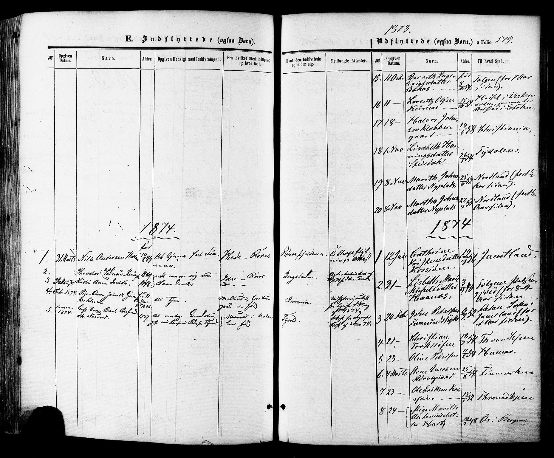 SAT, Ministerialprotokoller, klokkerbøker og fødselsregistre - Sør-Trøndelag, 681/L0932: Ministerialbok nr. 681A10, 1860-1878, s. 519