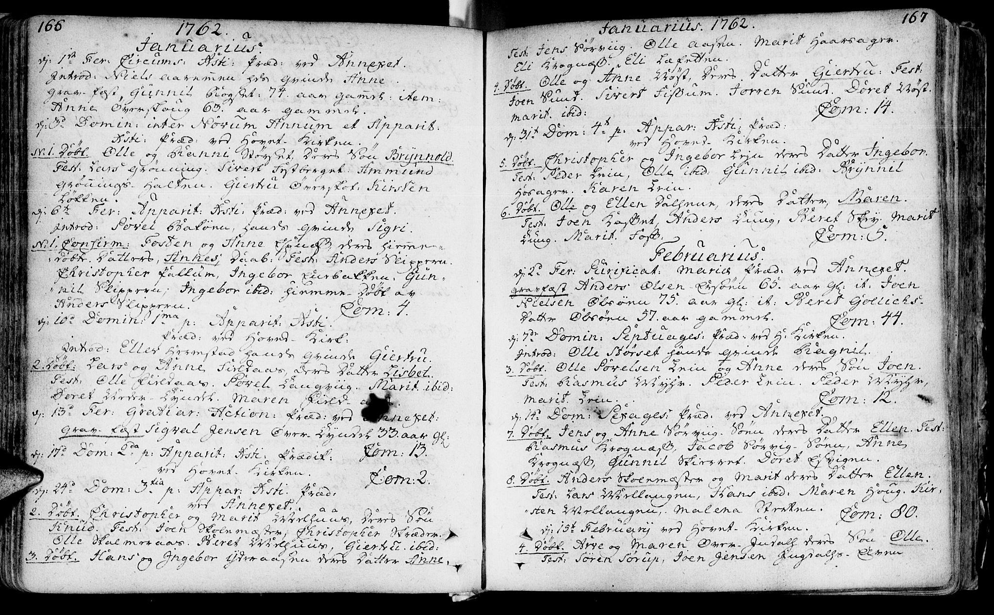 SAT, Ministerialprotokoller, klokkerbøker og fødselsregistre - Sør-Trøndelag, 646/L0605: Ministerialbok nr. 646A03, 1751-1790, s. 166-167