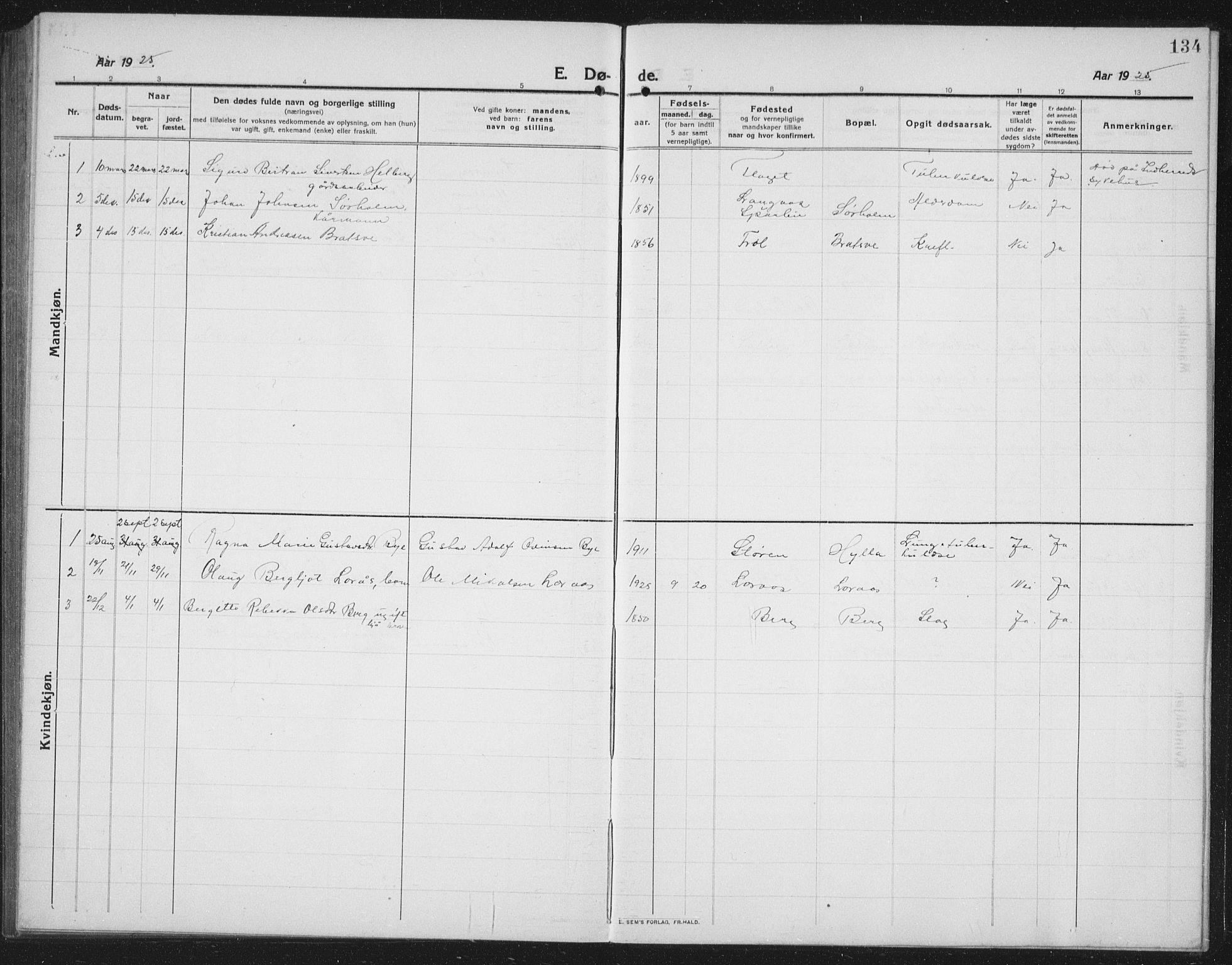 SAT, Ministerialprotokoller, klokkerbøker og fødselsregistre - Nord-Trøndelag, 731/L0312: Klokkerbok nr. 731C03, 1911-1935, s. 134