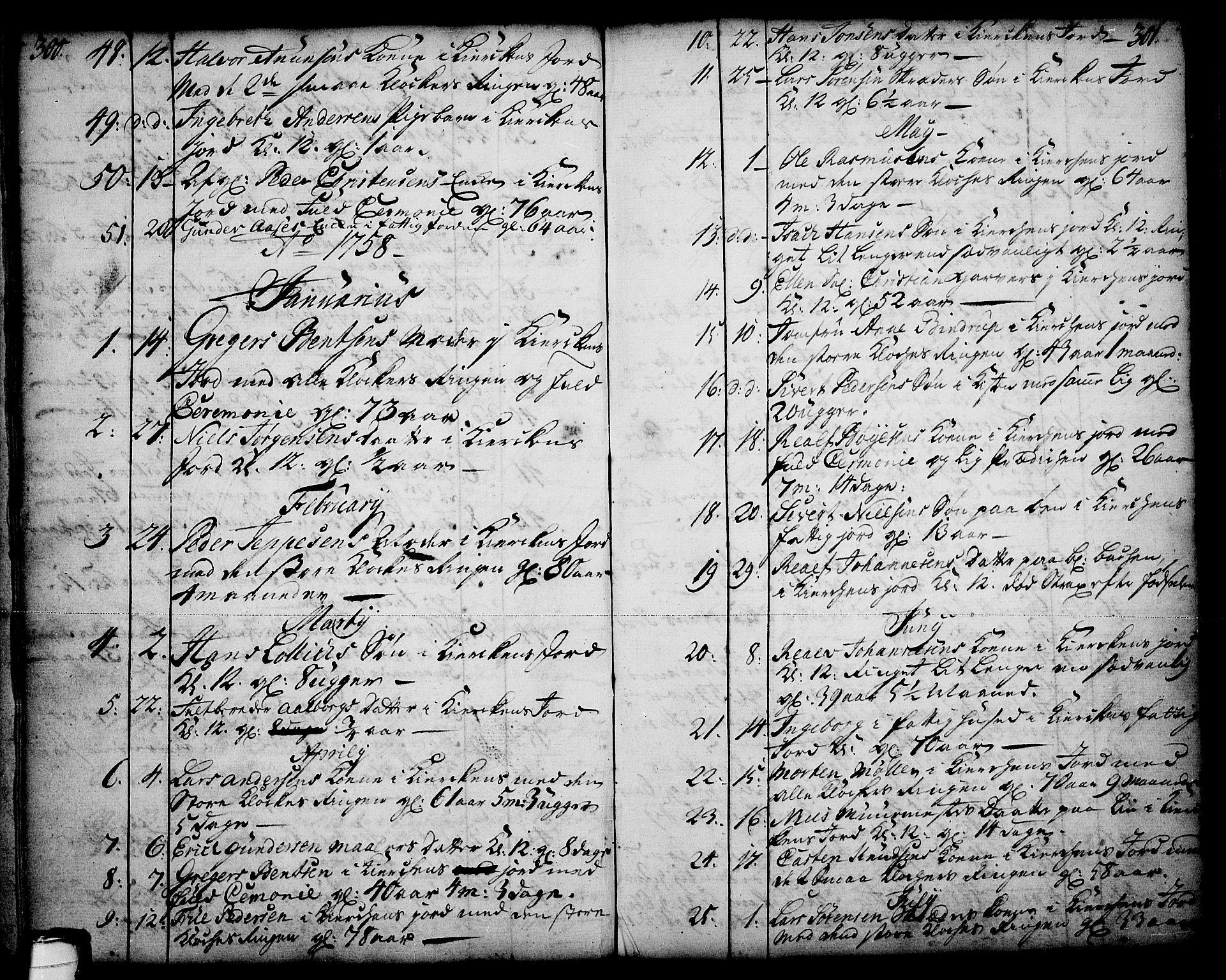 SAKO, Skien kirkebøker, F/Fa/L0003: Ministerialbok nr. 3, 1755-1791, s. 300-301