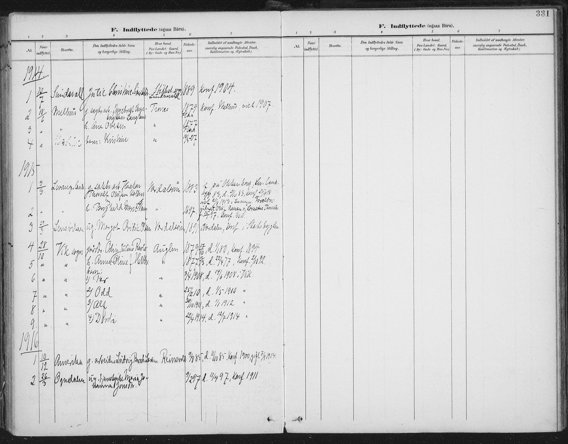 SAT, Ministerialprotokoller, klokkerbøker og fødselsregistre - Nord-Trøndelag, 723/L0246: Ministerialbok nr. 723A15, 1900-1917, s. 331