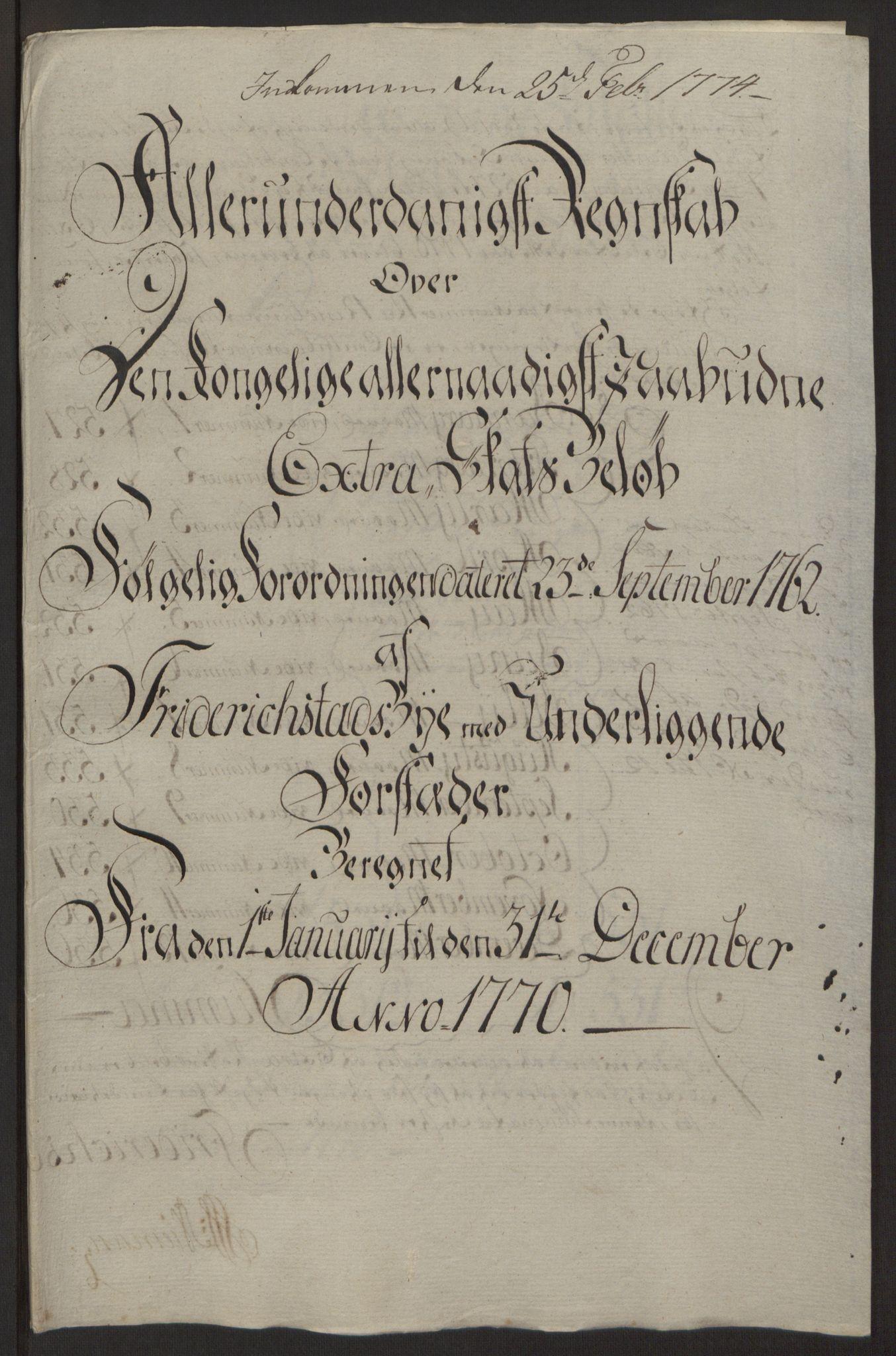 RA, Rentekammeret inntil 1814, Reviderte regnskaper, Byregnskaper, R/Rb/L0029: [B3] Kontribusjonsregnskap, 1762-1772, s. 340