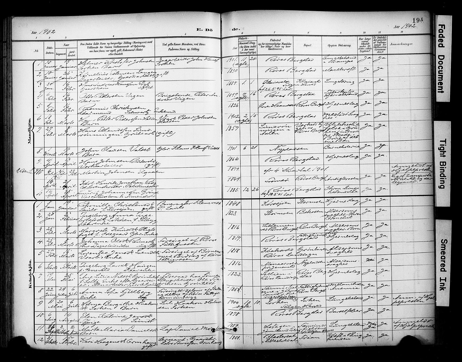 SAT, Ministerialprotokoller, klokkerbøker og fødselsregistre - Sør-Trøndelag, 681/L0936: Ministerialbok nr. 681A14, 1899-1908, s. 194