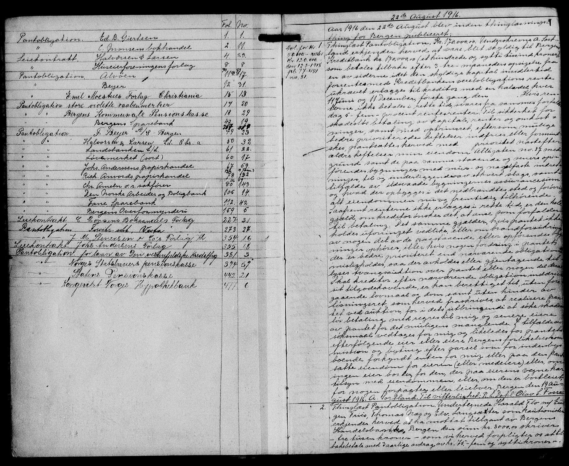 SAB, Byfogd og Byskriver i Bergen, 03/03Ba/L0077: Pantebok nr. II.B.a.77, 1916-1918, s. 1
