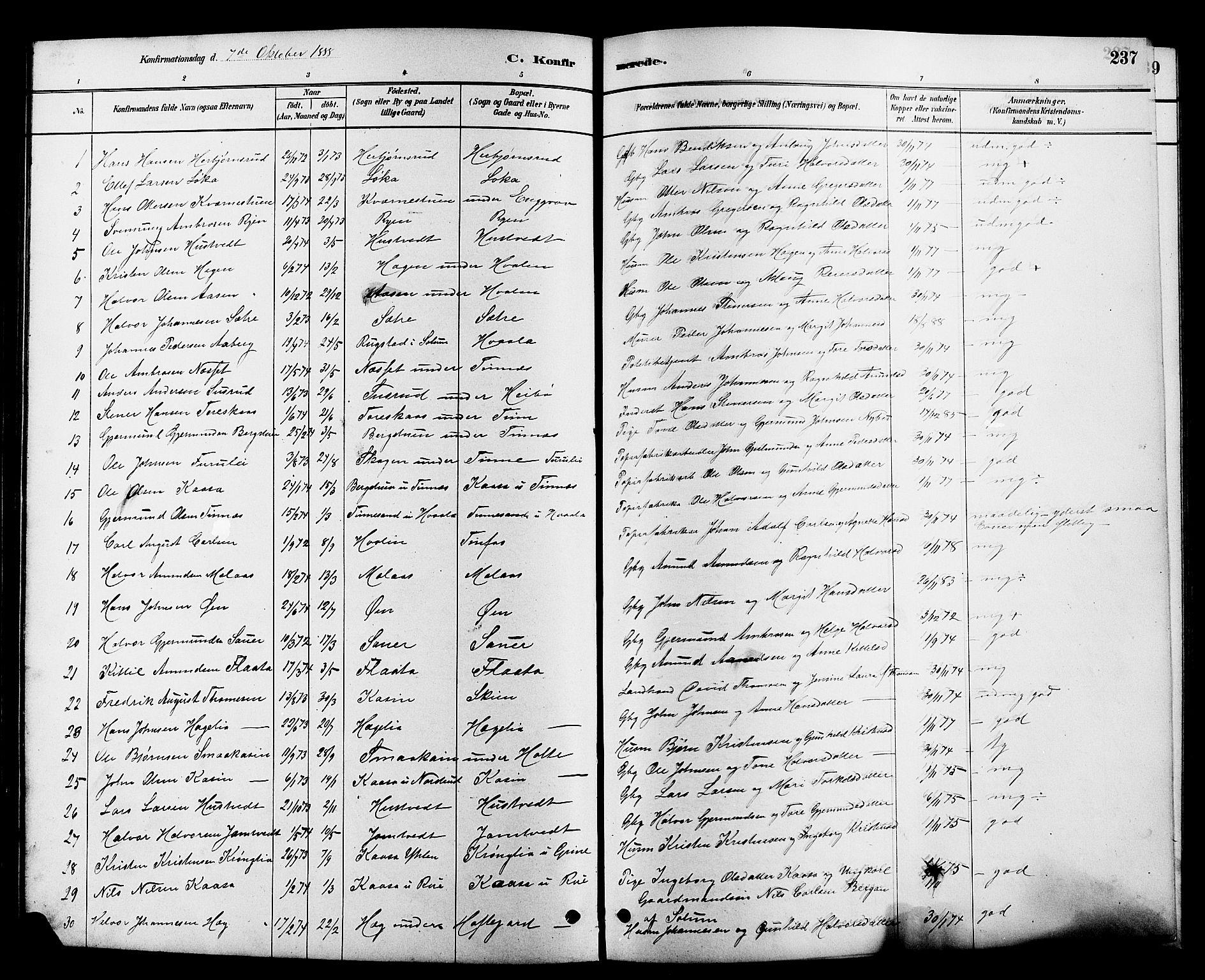SAKO, Heddal kirkebøker, G/Ga/L0002: Klokkerbok nr. I 2, 1879-1908, s. 237