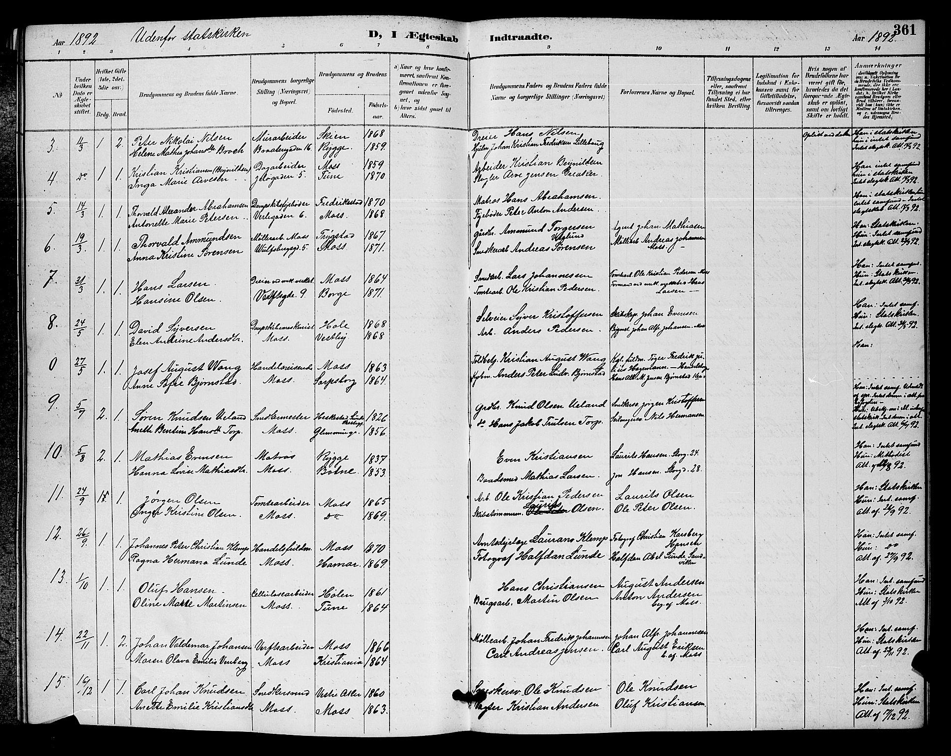 SAO, Moss prestekontor Kirkebøker, G/Ga/L0006: Klokkerbok nr. I 6, 1889-1900, s. 361