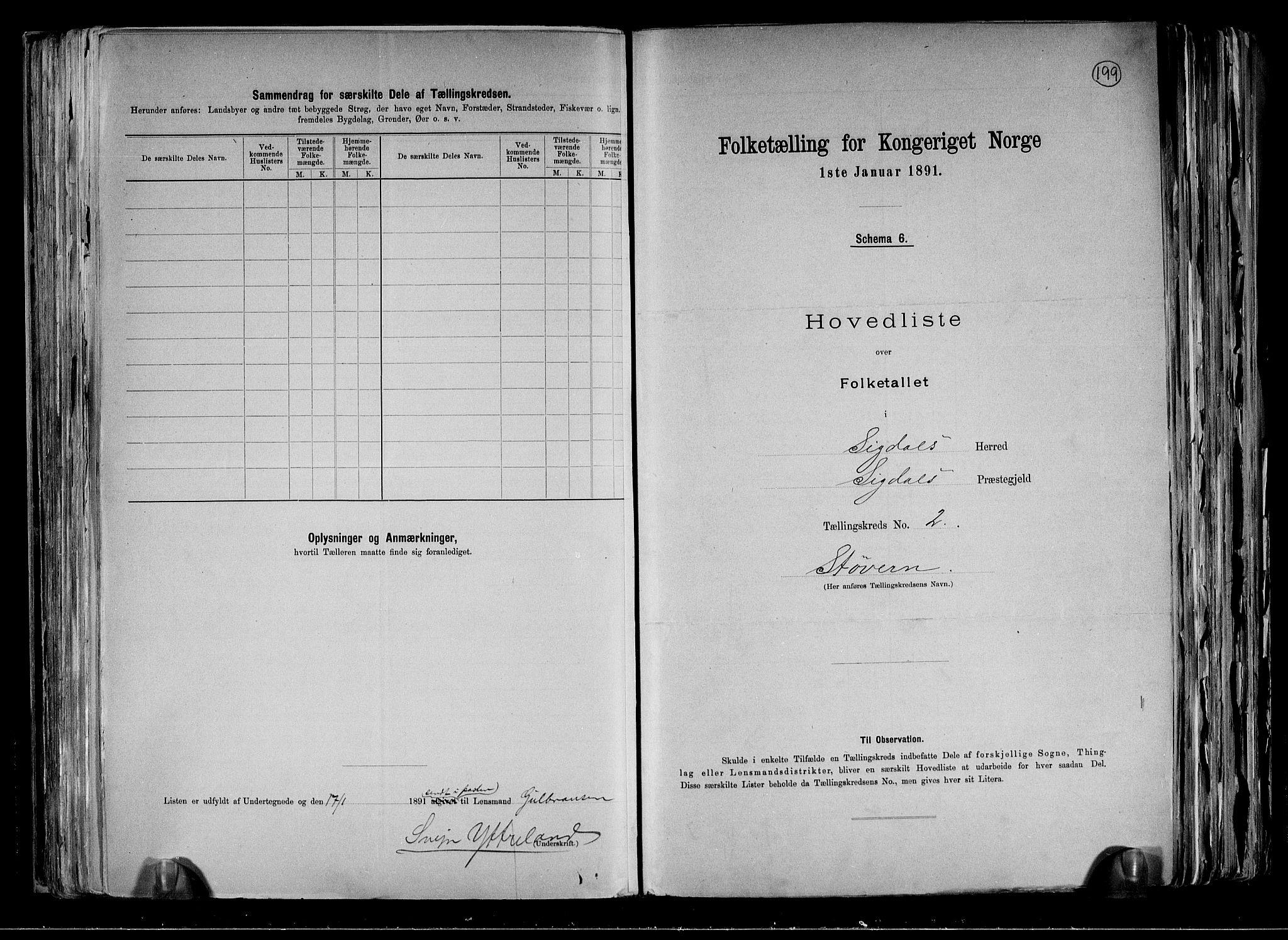 RA, Folketelling 1891 for 0621 Sigdal herred, 1891, s. 10