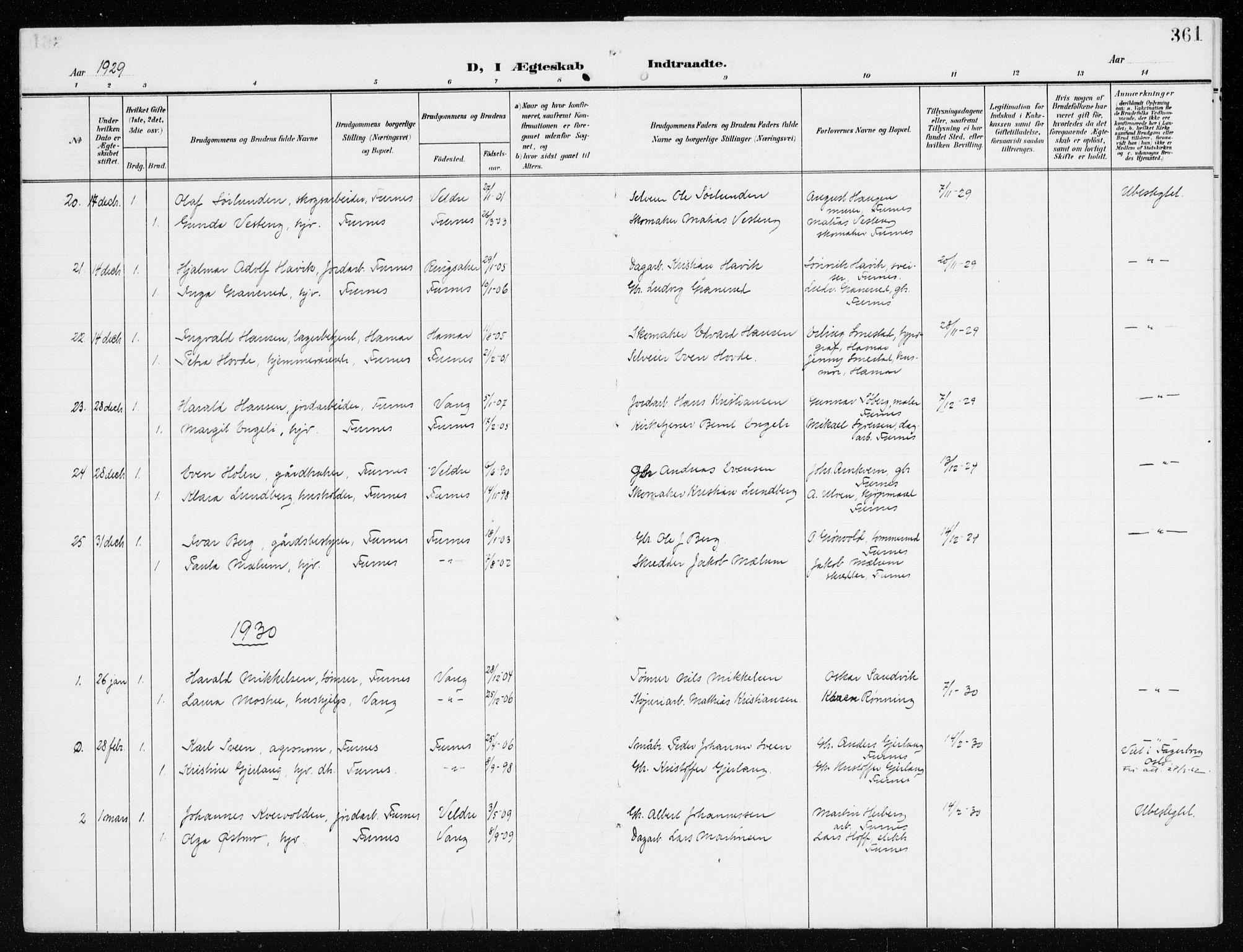 SAH, Furnes prestekontor, K/Ka/L0001: Ministerialbok nr. 1, 1907-1935, s. 361