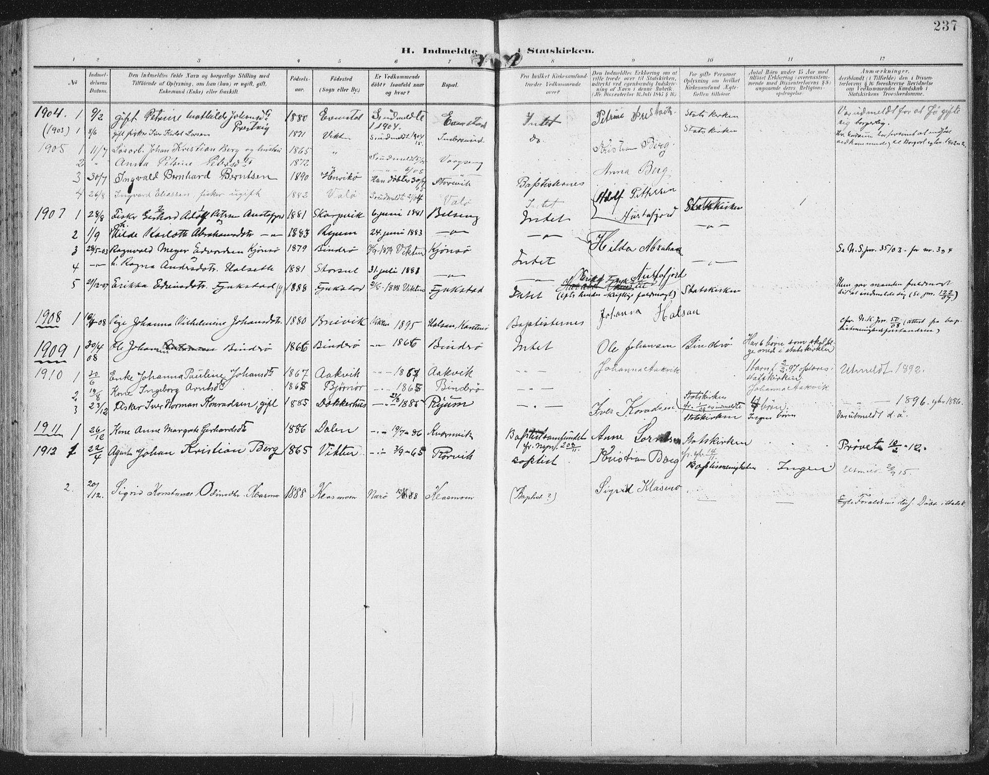 SAT, Ministerialprotokoller, klokkerbøker og fødselsregistre - Nord-Trøndelag, 786/L0688: Ministerialbok nr. 786A04, 1899-1912, s. 237