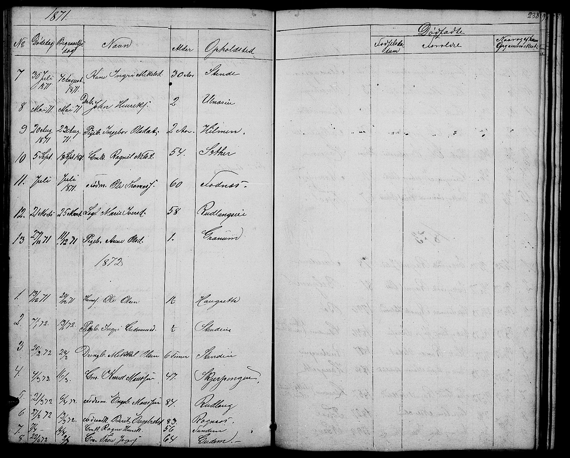 SAH, Nord-Aurdal prestekontor, Klokkerbok nr. 4, 1842-1882, s. 238