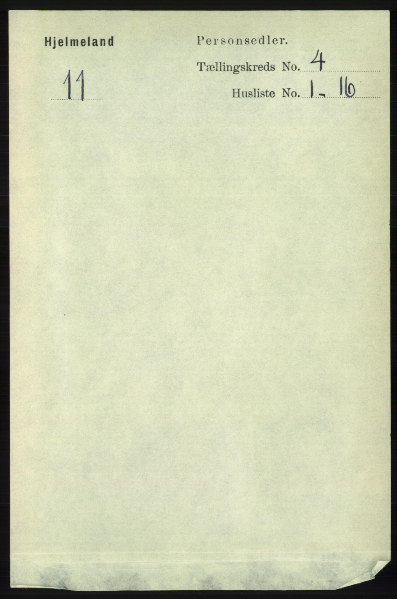 RA, Folketelling 1891 for 1133 Hjelmeland herred, 1891, s. 999