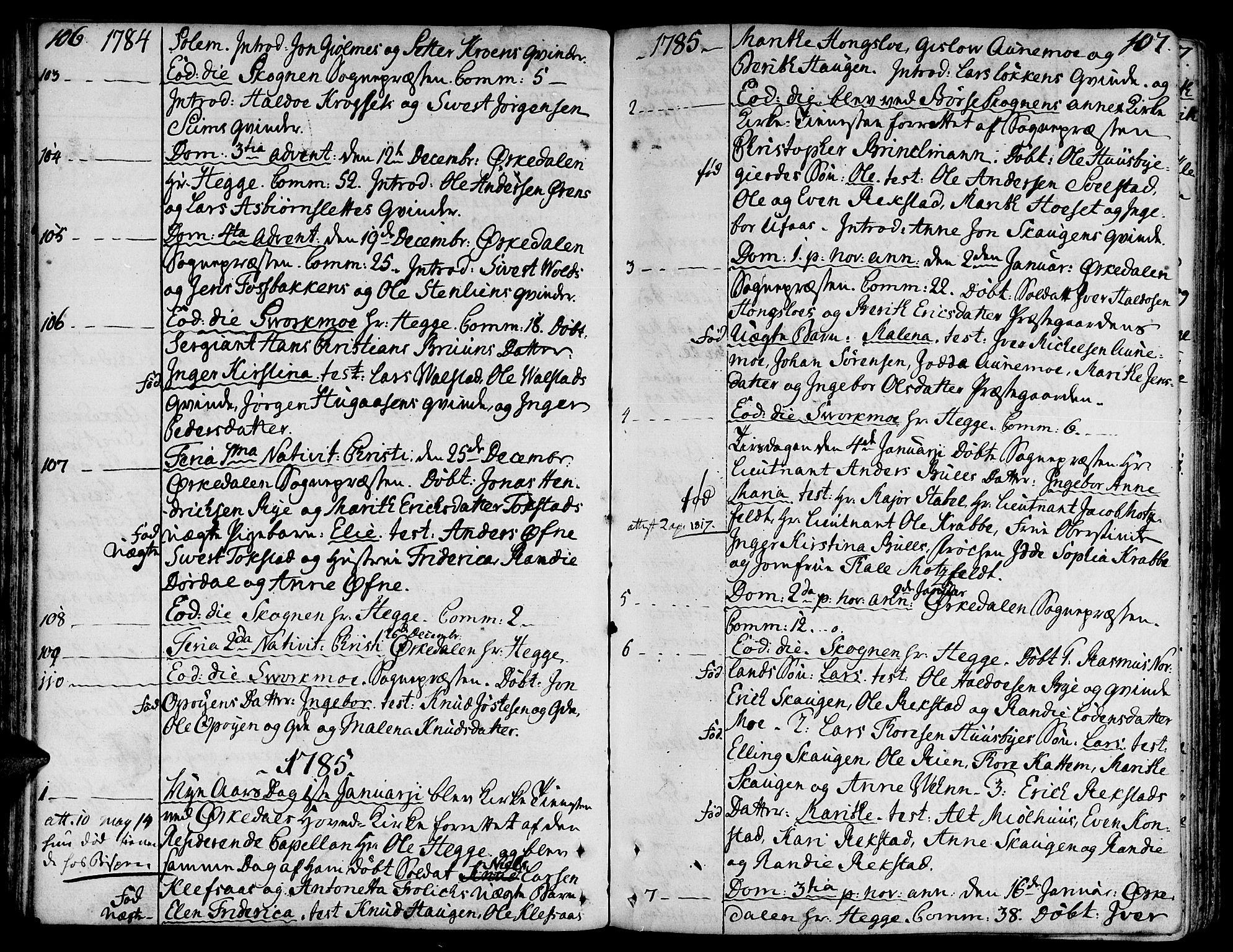 SAT, Ministerialprotokoller, klokkerbøker og fødselsregistre - Sør-Trøndelag, 668/L0802: Ministerialbok nr. 668A02, 1776-1799, s. 106-107