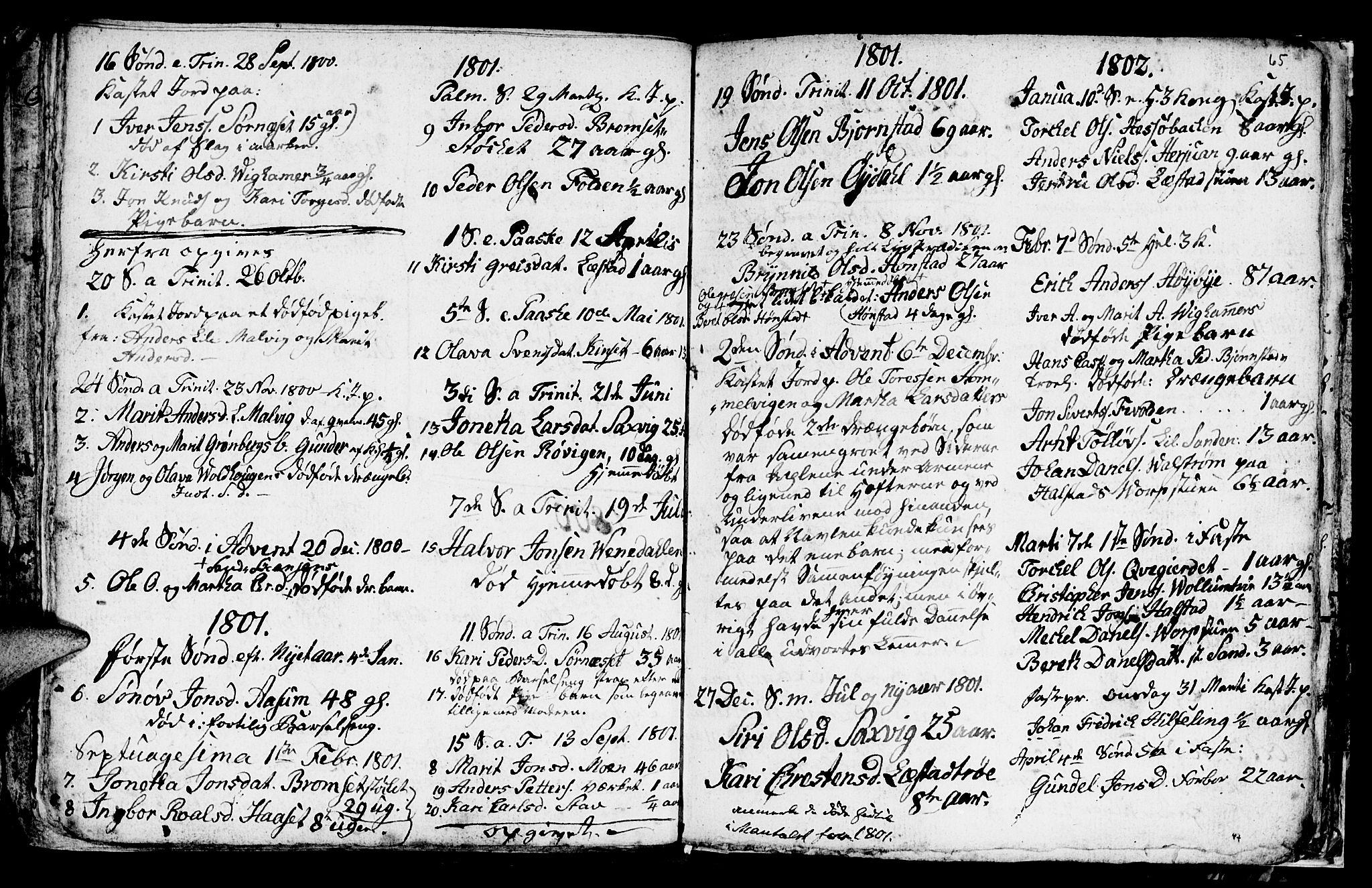 SAT, Ministerialprotokoller, klokkerbøker og fødselsregistre - Sør-Trøndelag, 616/L0419: Klokkerbok nr. 616C02, 1797-1816, s. 65