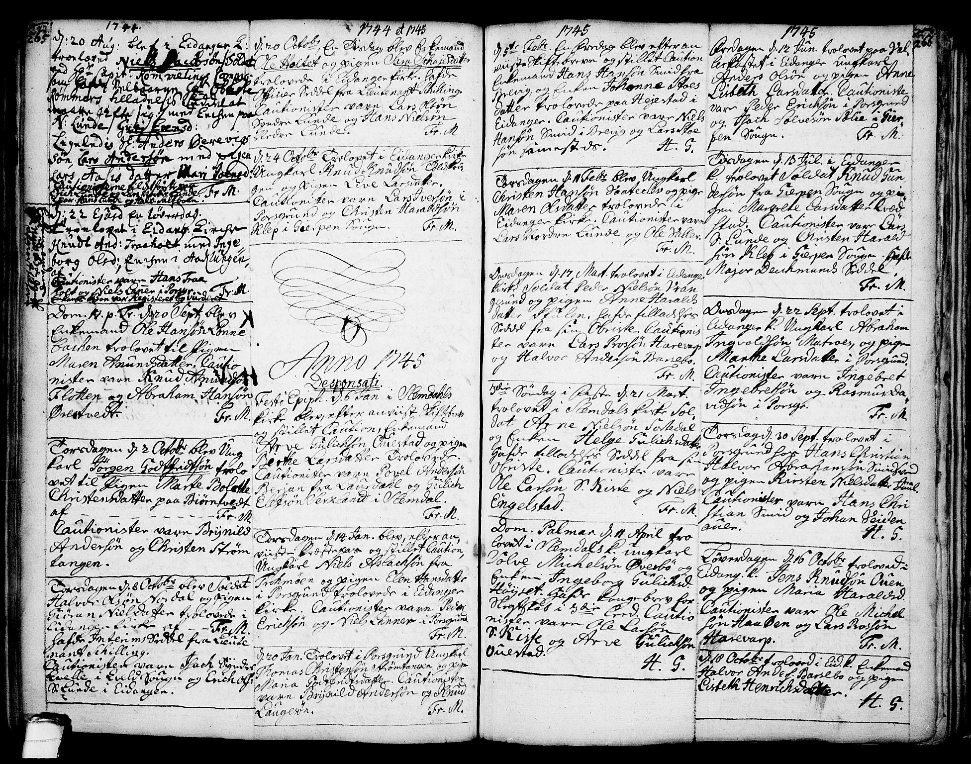 SAKO, Eidanger kirkebøker, F/Fa/L0004: Ministerialbok nr. 4, 1733-1759, s. 265-266
