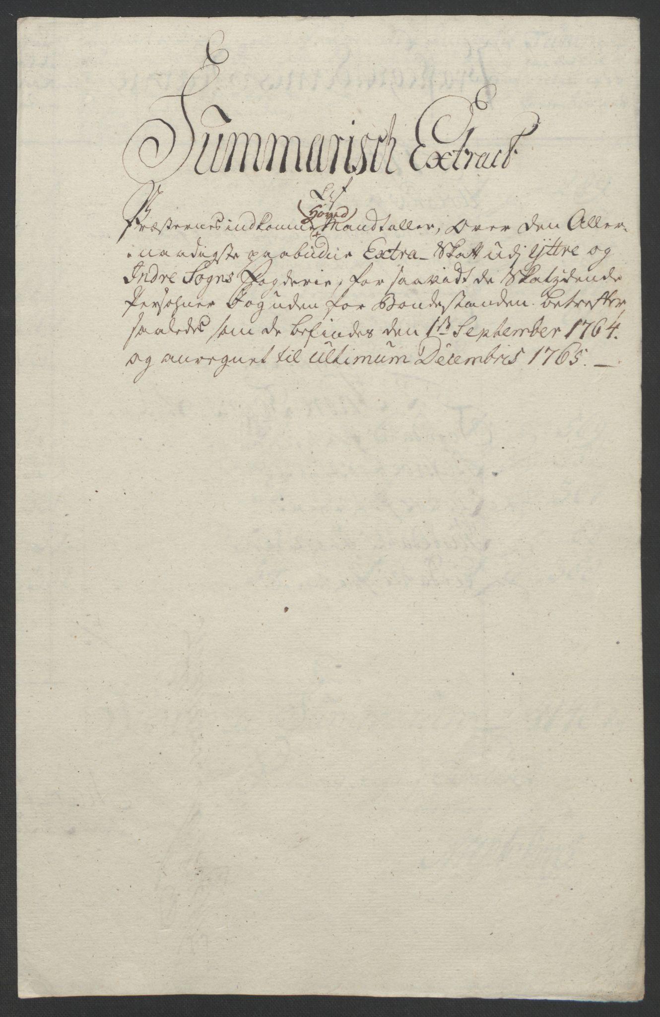 RA, Rentekammeret inntil 1814, Realistisk ordnet avdeling, Ol/L0018: [Gg 10]: Ekstraskatten, 23.09.1762. Sogn, 1762-1772, s. 122
