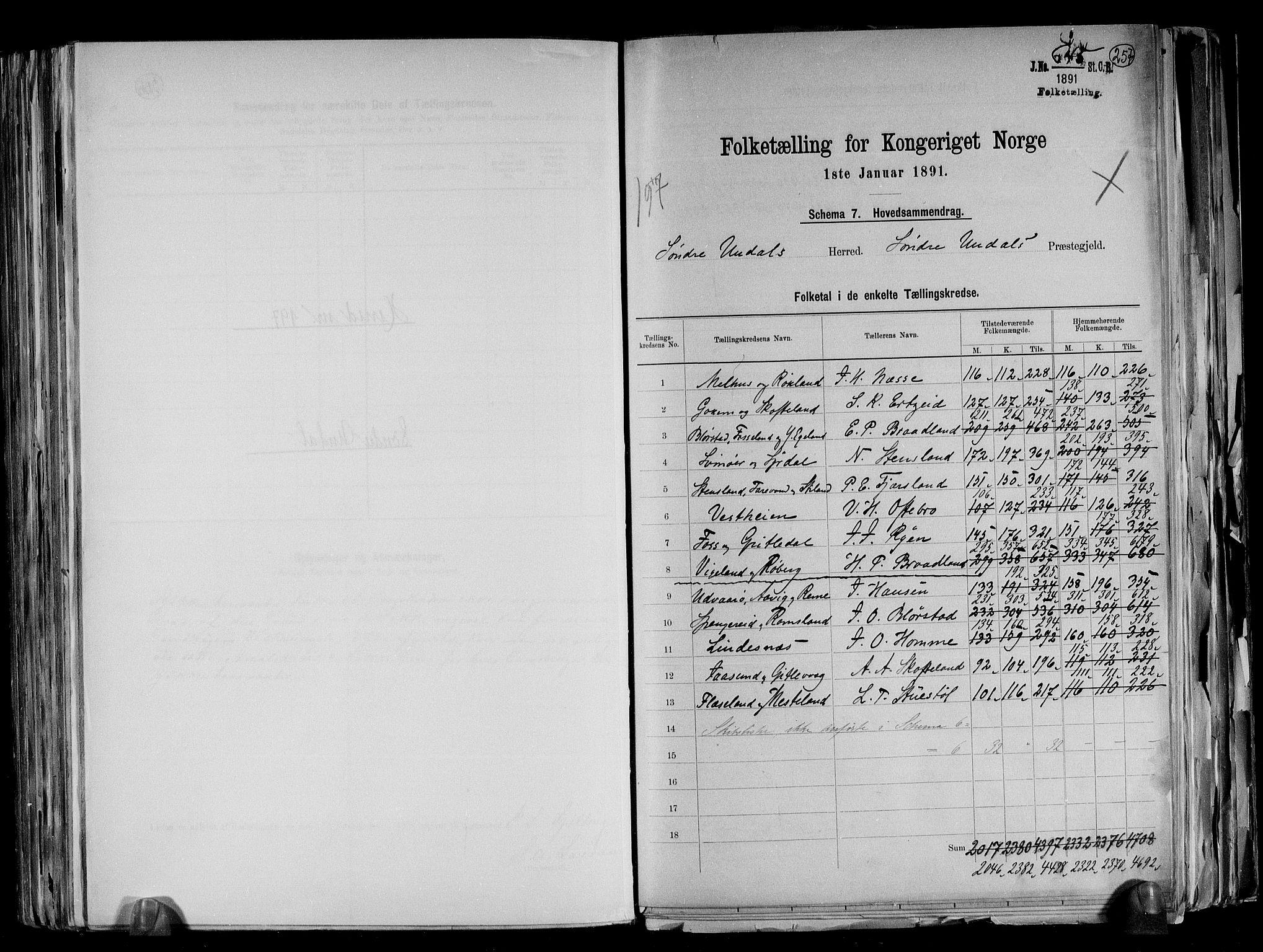 RA, Folketelling 1891 for 1029 Sør-Audnedal herred, 1891, s. 2