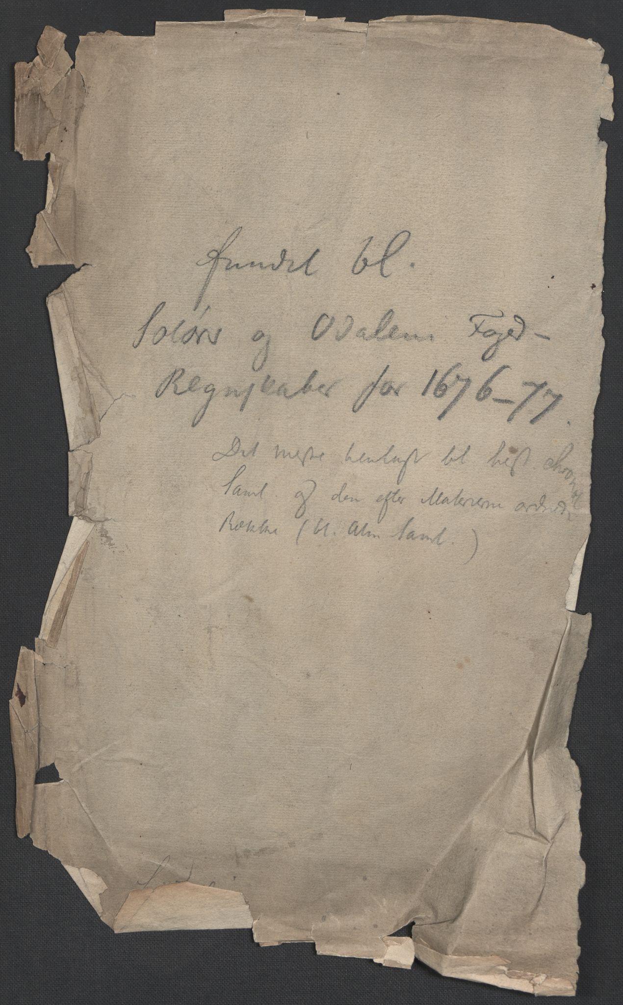 RA, Rentekammeret inntil 1814, Reviderte regnskaper, Fogderegnskap, R13/L0813: Fogderegnskap Solør, Odal og Østerdal, 1677, s. 364