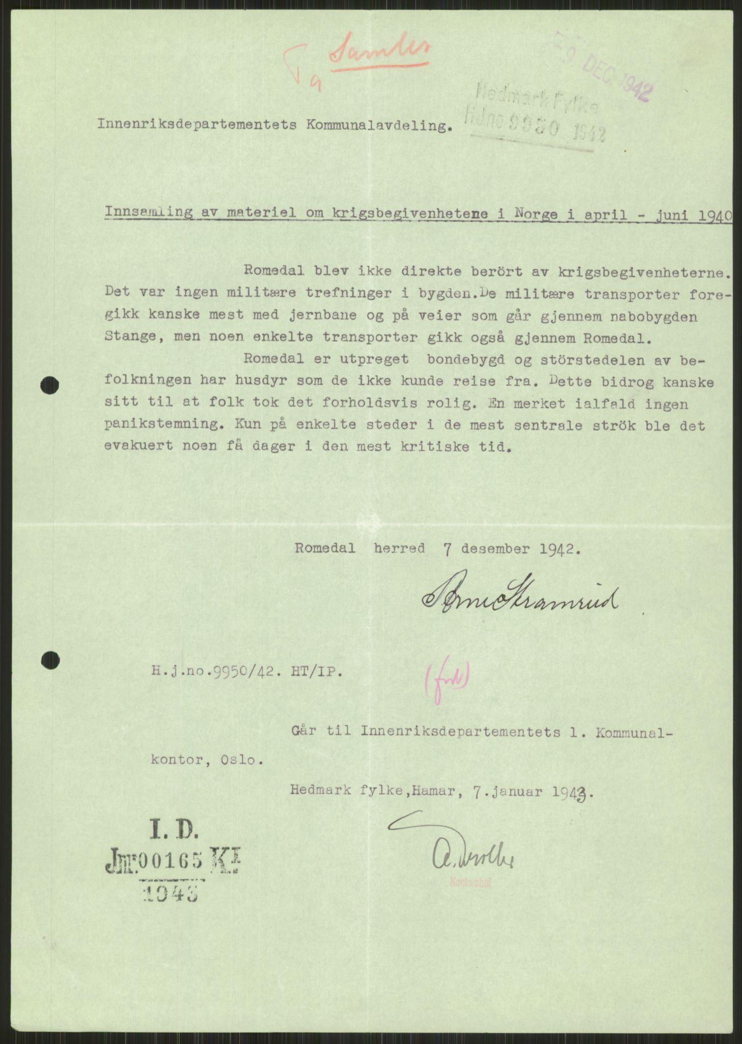 RA, Forsvaret, Forsvarets krigshistoriske avdeling, Y/Ya/L0013: II-C-11-31 - Fylkesmenn.  Rapporter om krigsbegivenhetene 1940., 1940, s. 972