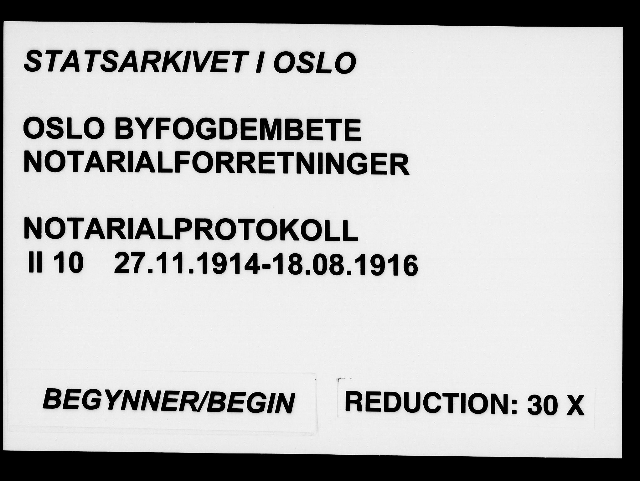SAO, Oslo byfogd avd. I, L/Lb/Lbb/L0010: Notarialprotokoll, rekke II: Vigsler, 1914-1916